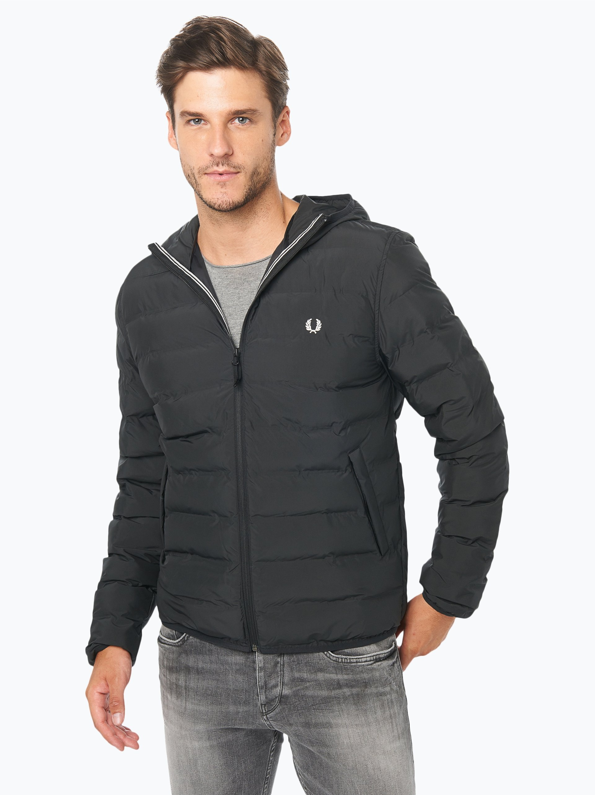 fred perry herren steppjacke schwarz uni online kaufen. Black Bedroom Furniture Sets. Home Design Ideas