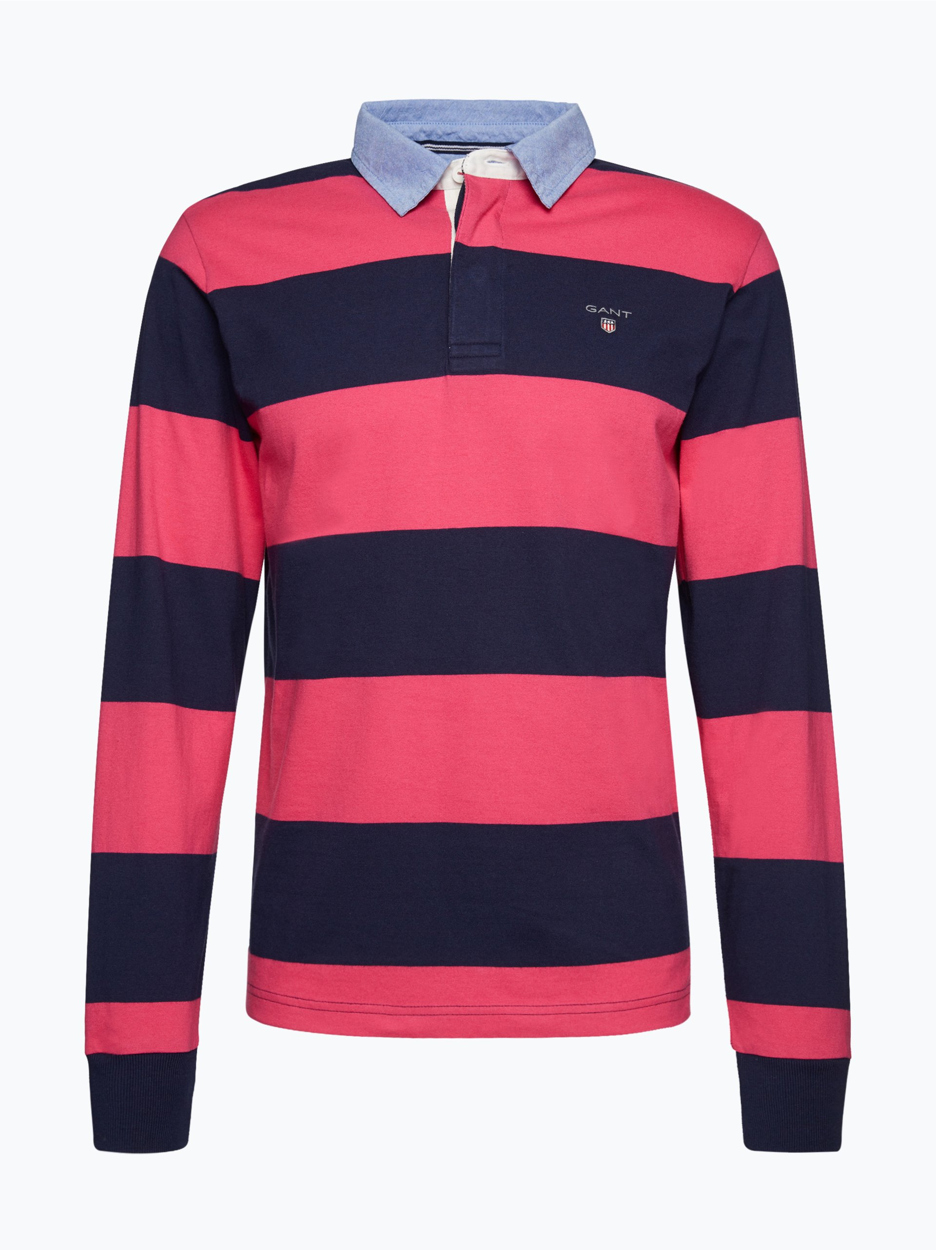 gant herren rugbyshirt pink gestreift online kaufen vangraaf com. Black Bedroom Furniture Sets. Home Design Ideas