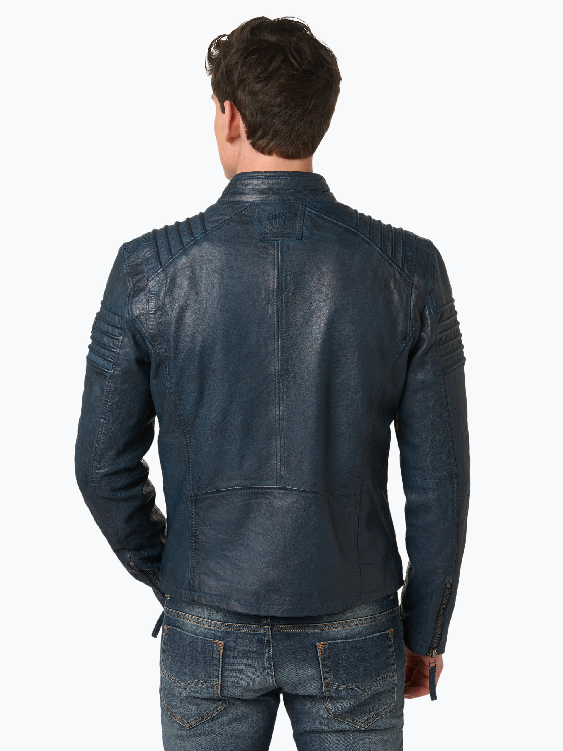 gipsy herren lederjacke copper blau uni online kaufen vangraaf com. Black Bedroom Furniture Sets. Home Design Ideas