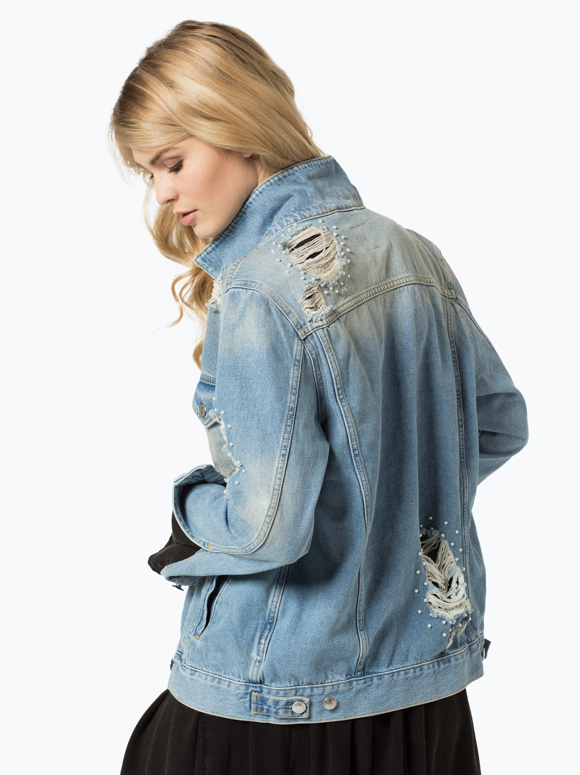 guess jeans damen jeansjacke hellblau uni online kaufen vangraaf com. Black Bedroom Furniture Sets. Home Design Ideas