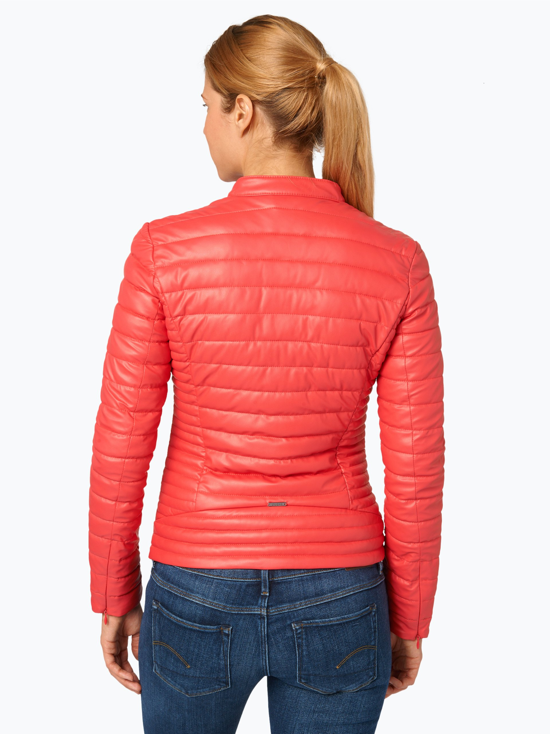 guess jeans damen steppjacke in leder optik rot uni online kaufen vangraaf com. Black Bedroom Furniture Sets. Home Design Ideas