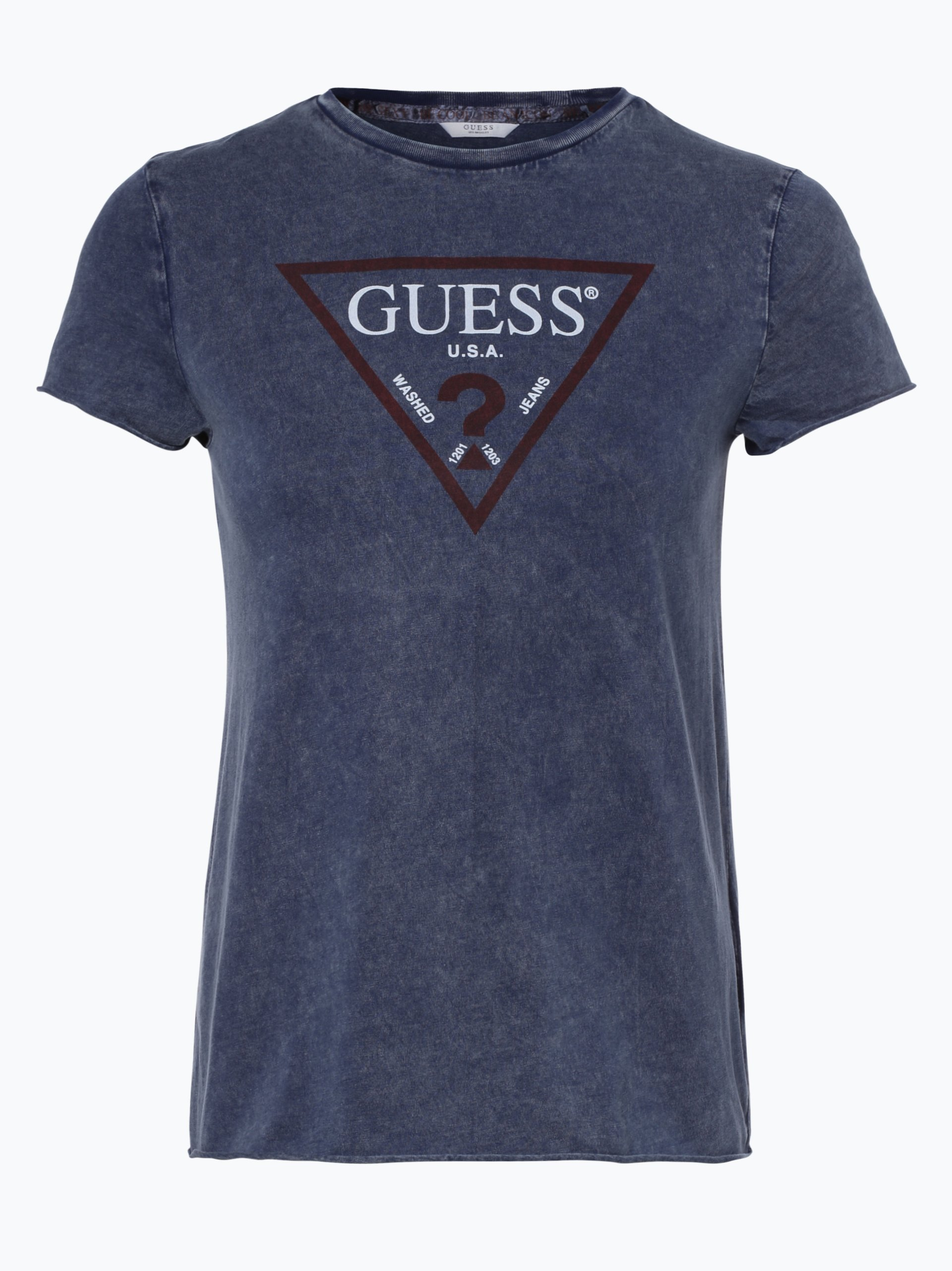 guess jeans damen t shirt marine gemustert online kaufen. Black Bedroom Furniture Sets. Home Design Ideas
