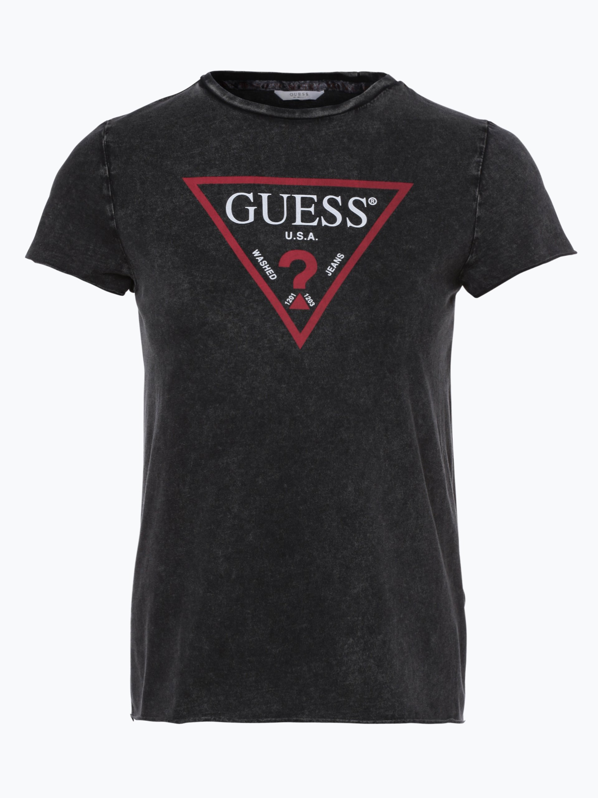 guess jeans damen t shirt anthrazit gemustert online. Black Bedroom Furniture Sets. Home Design Ideas