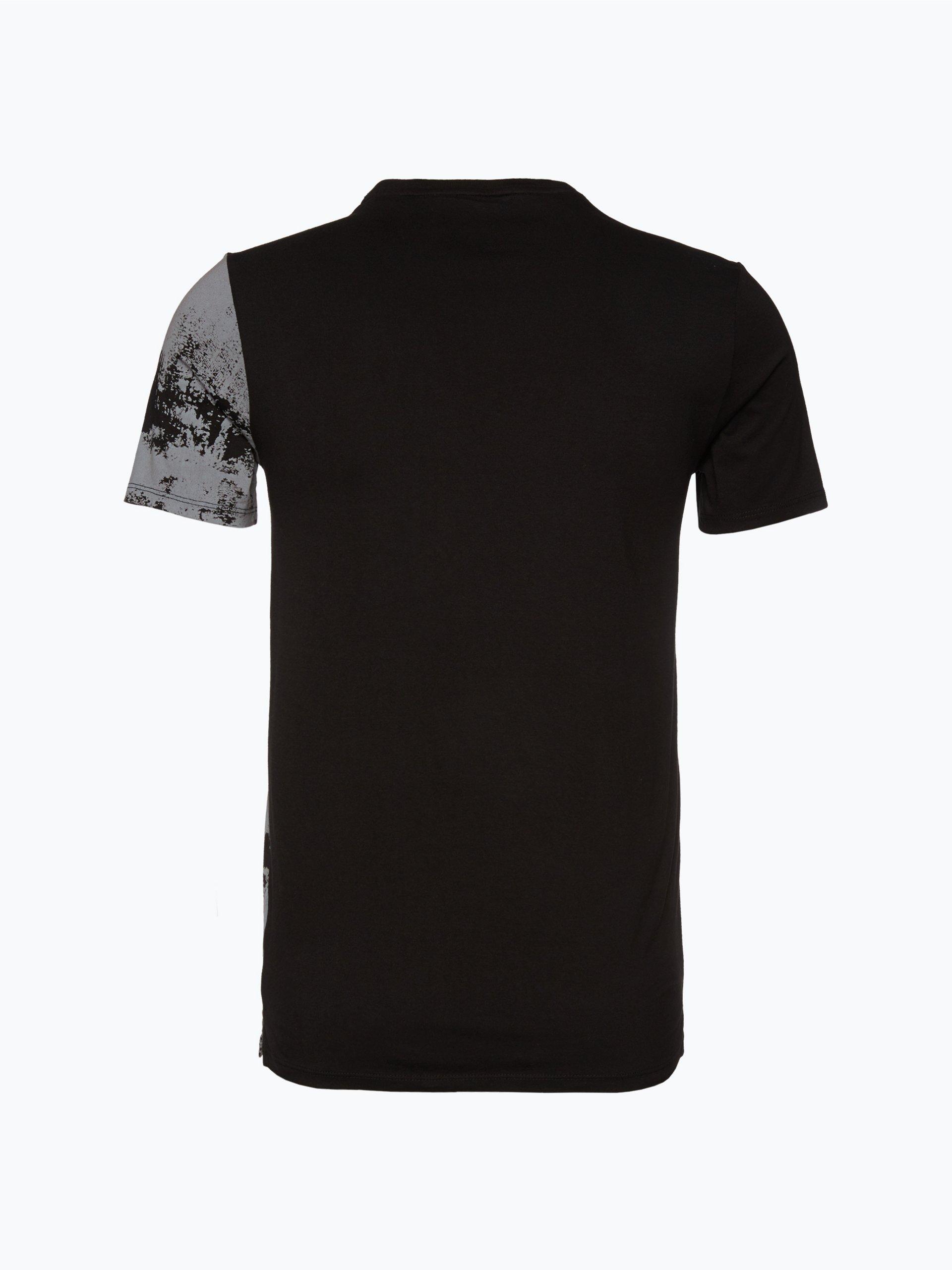 guess jeans herren t shirt schwarz gemustert online kaufen