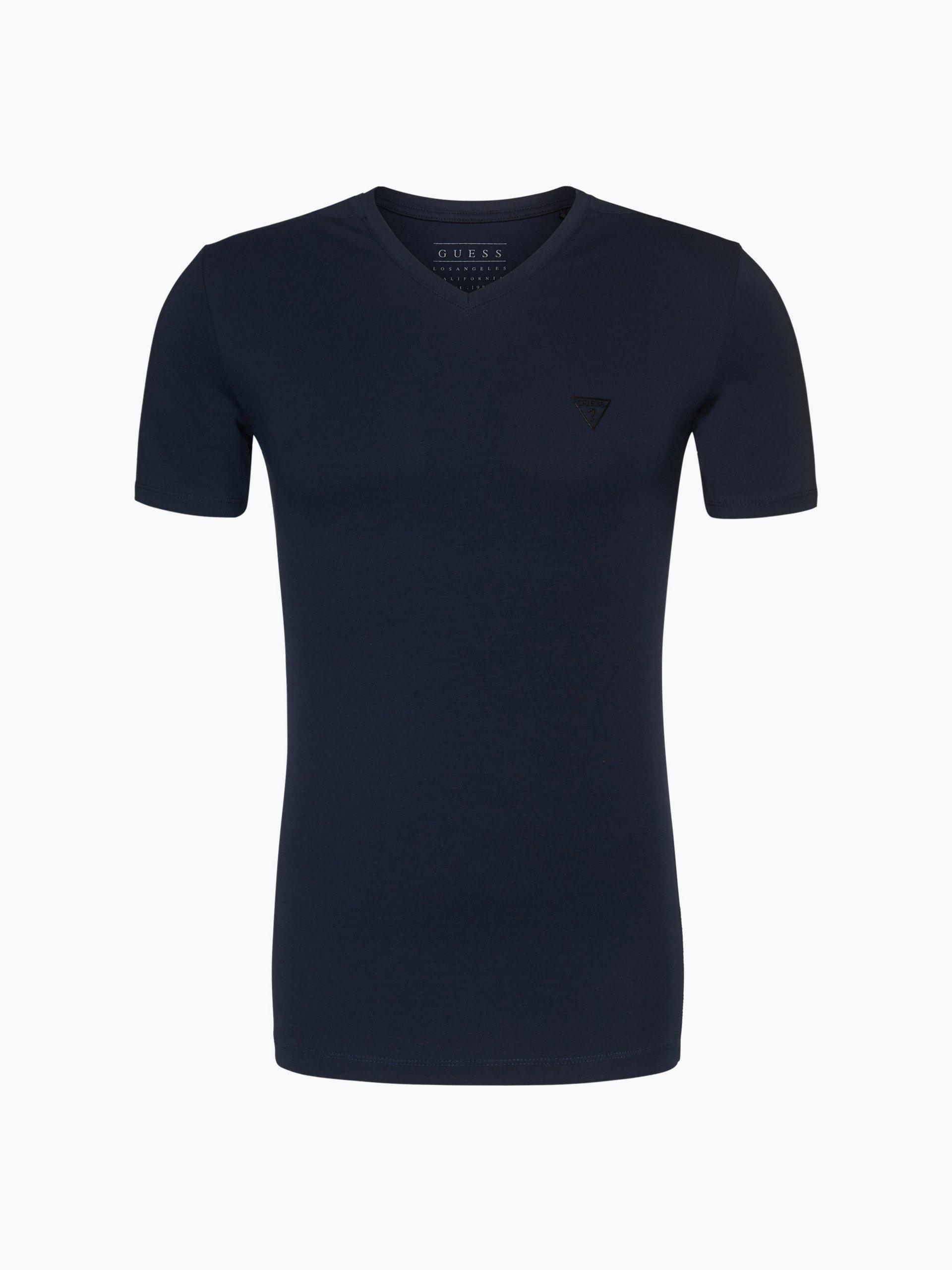 guess jeans herren t shirt marine gemustert online kaufen. Black Bedroom Furniture Sets. Home Design Ideas