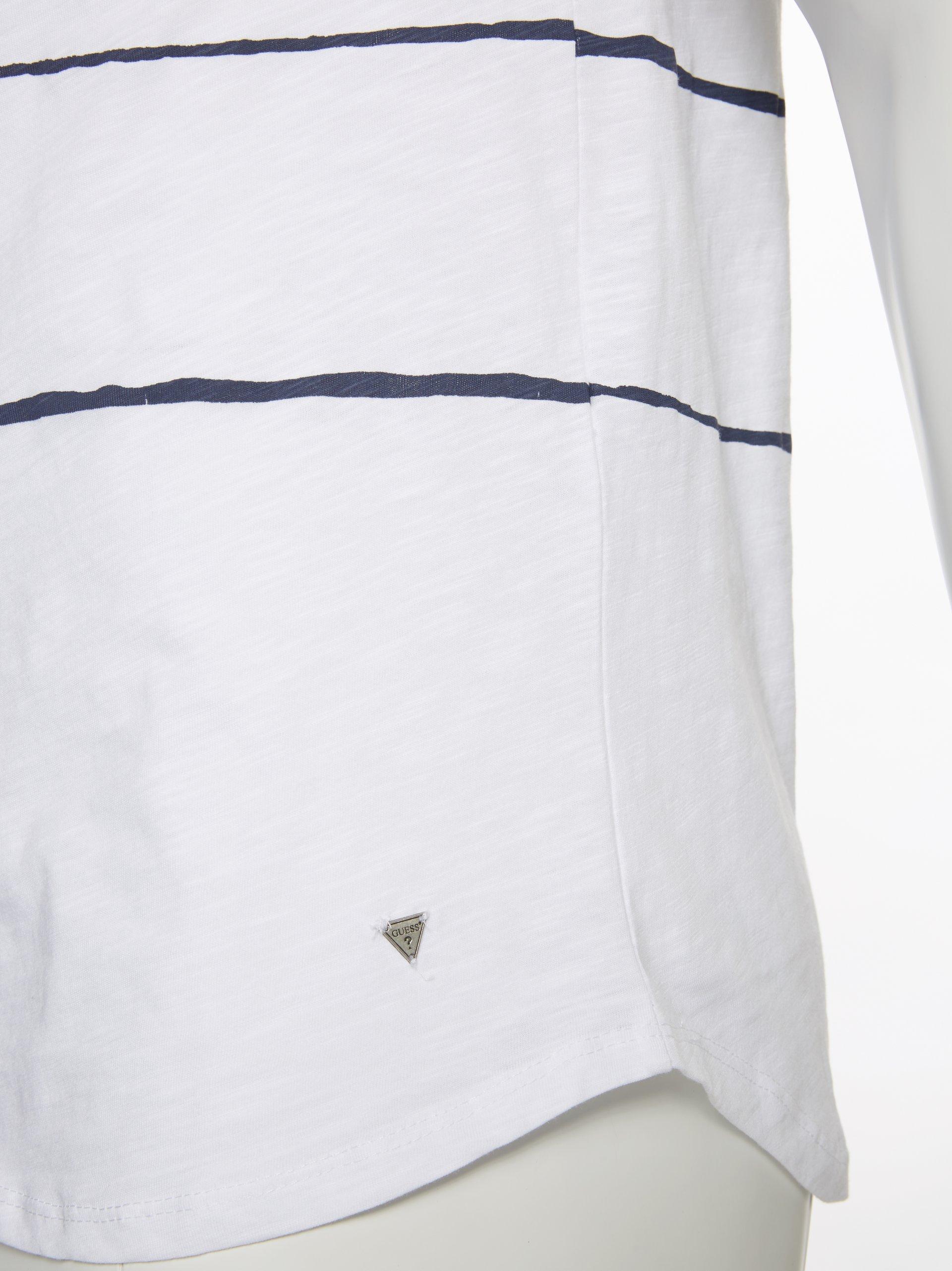 guess jeans herren t shirt marine wei gestreift online. Black Bedroom Furniture Sets. Home Design Ideas