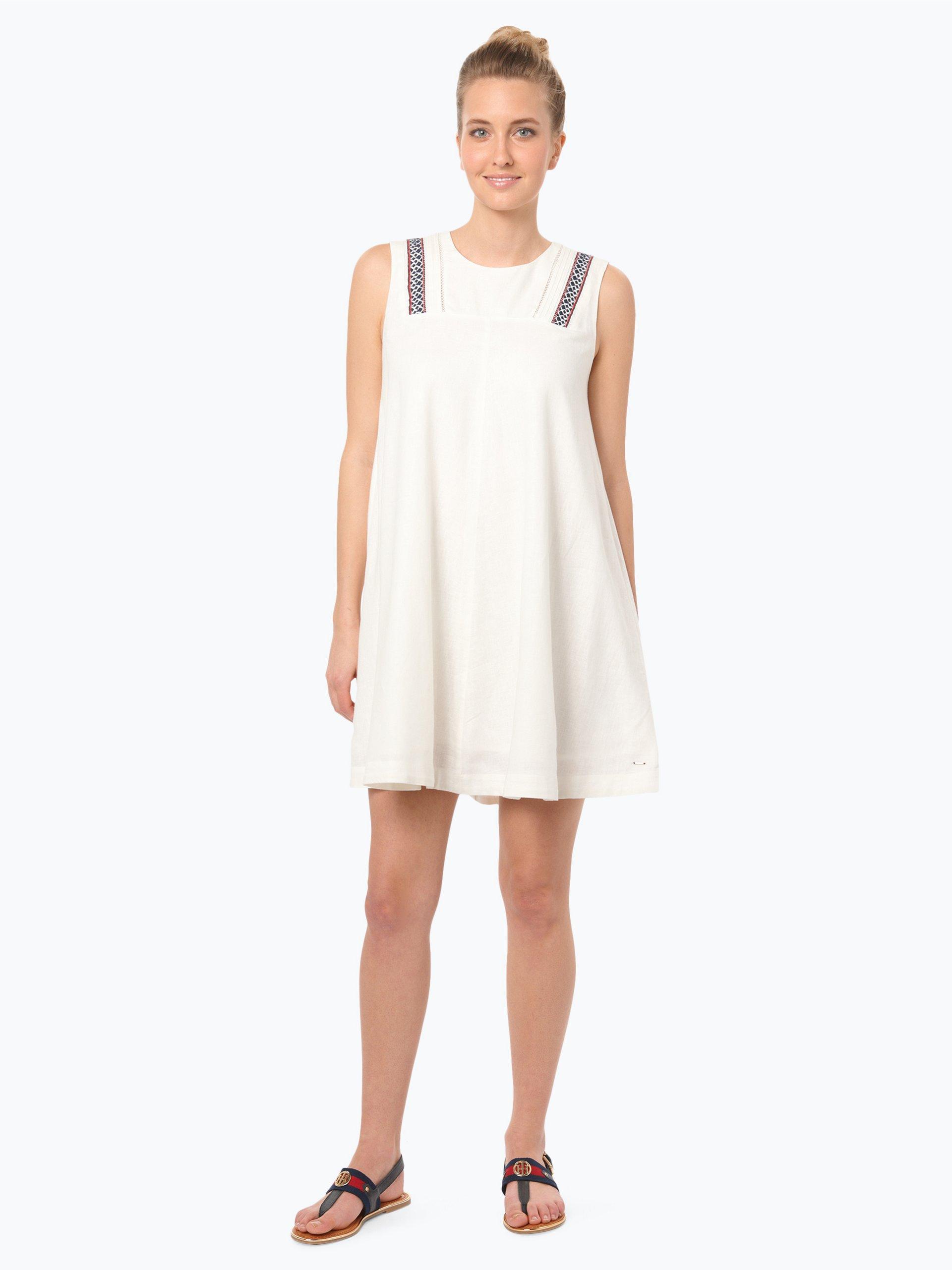 Hilfiger Denim Damen Kleid mit Leinen-Anteil weiß uni ...