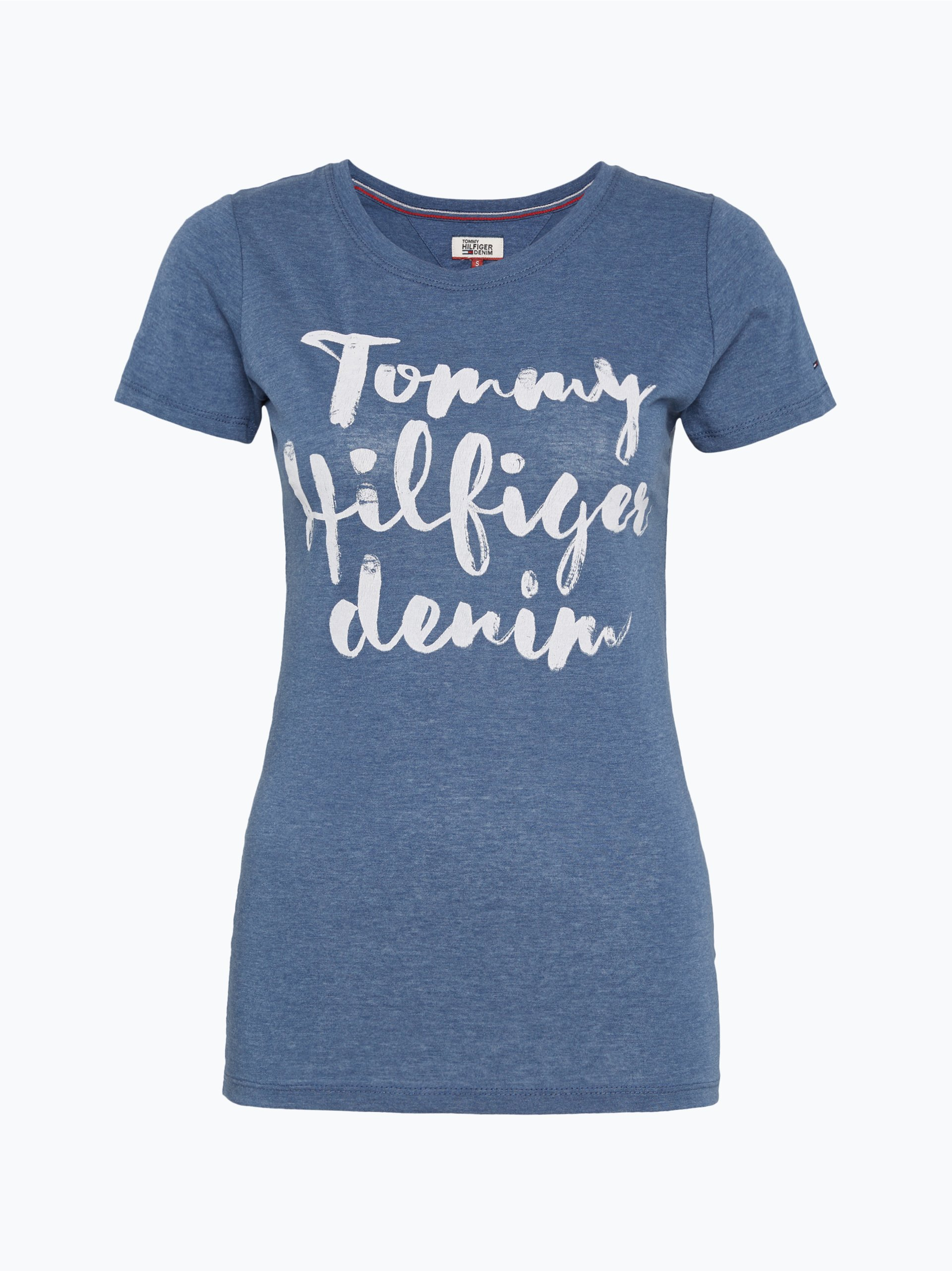 hilfiger denim damen t shirt blau uni online kaufen. Black Bedroom Furniture Sets. Home Design Ideas