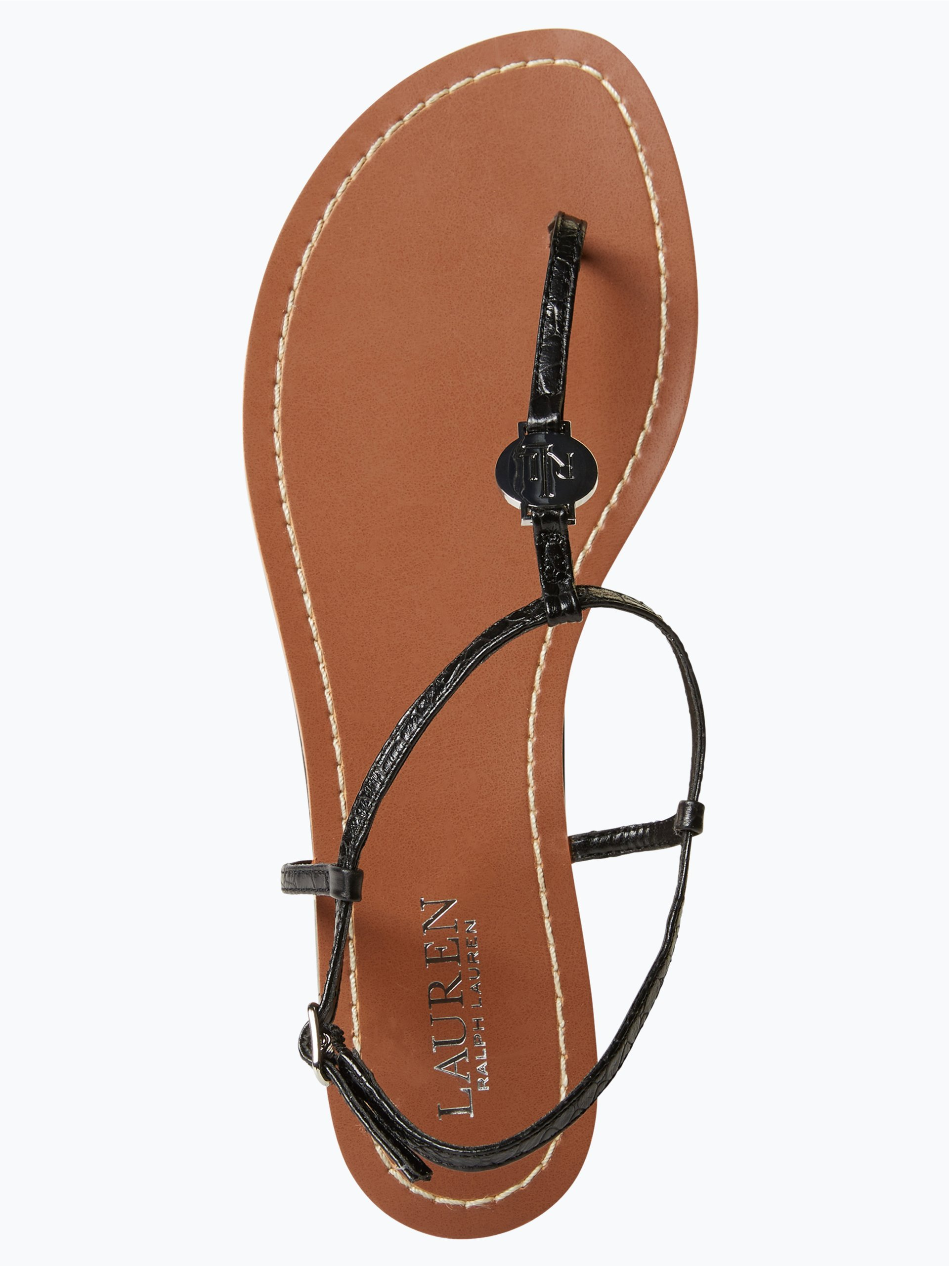 lauren damen sandalen aus leder schwarz uni online kaufen. Black Bedroom Furniture Sets. Home Design Ideas