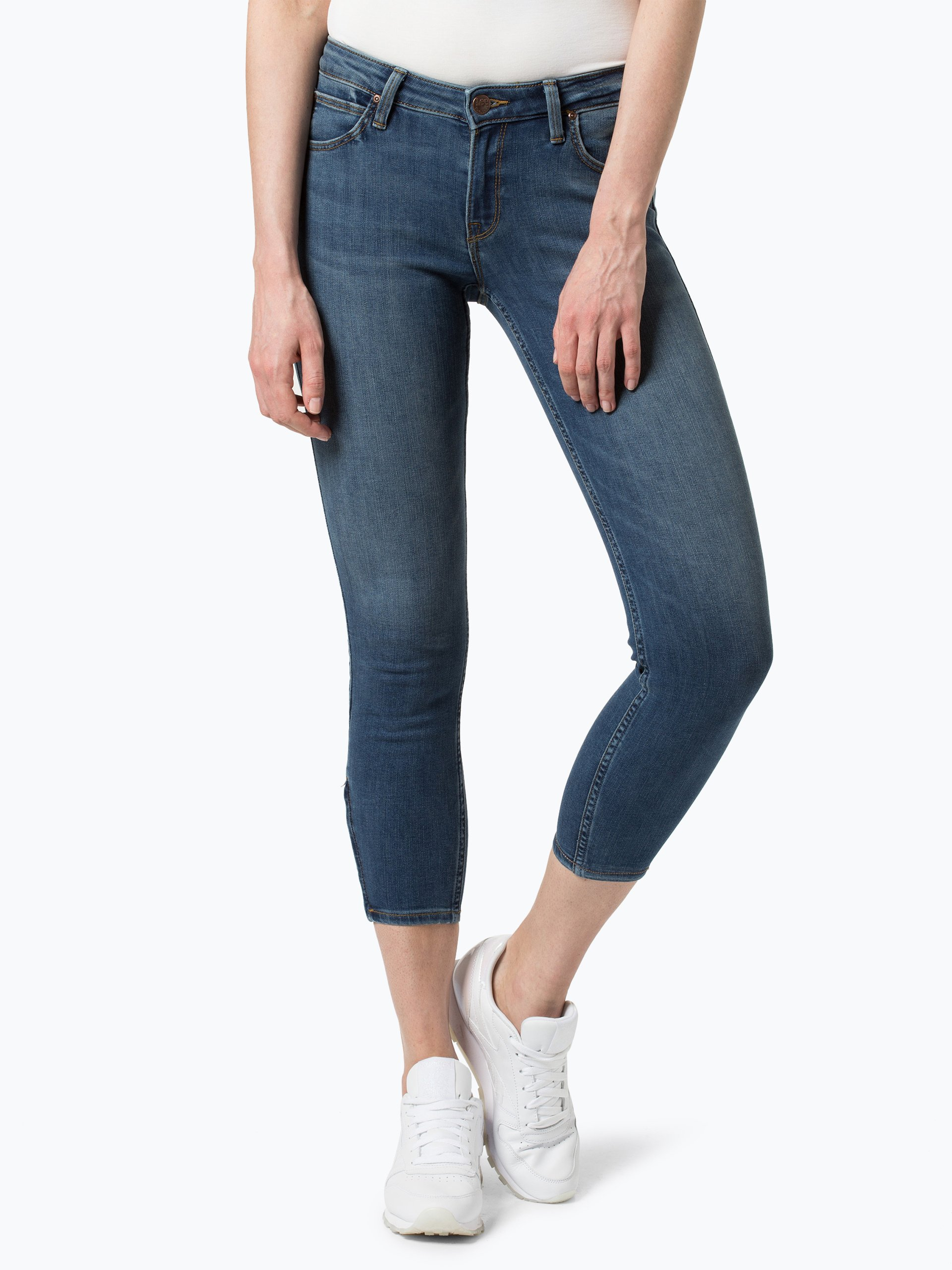 lee damen jeans scarlett cropped blau uni online kaufen. Black Bedroom Furniture Sets. Home Design Ideas