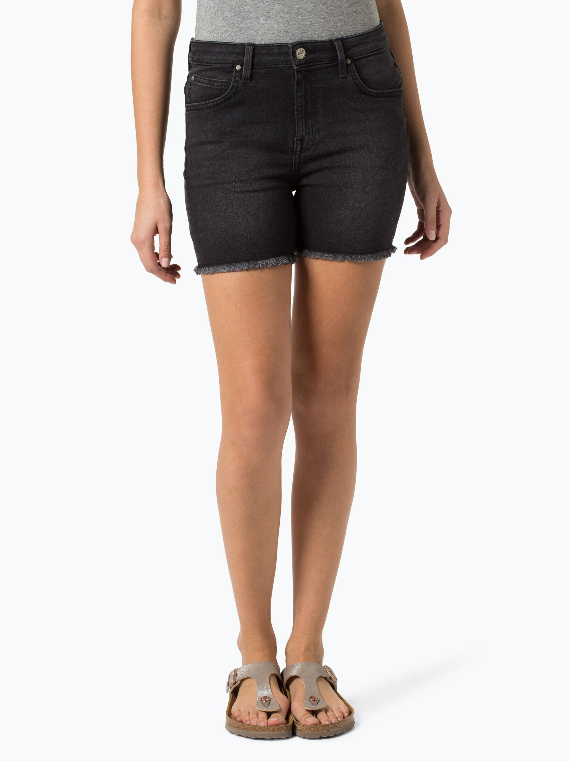 lee damen jeansshorts boyfriend short schwarz uni online. Black Bedroom Furniture Sets. Home Design Ideas