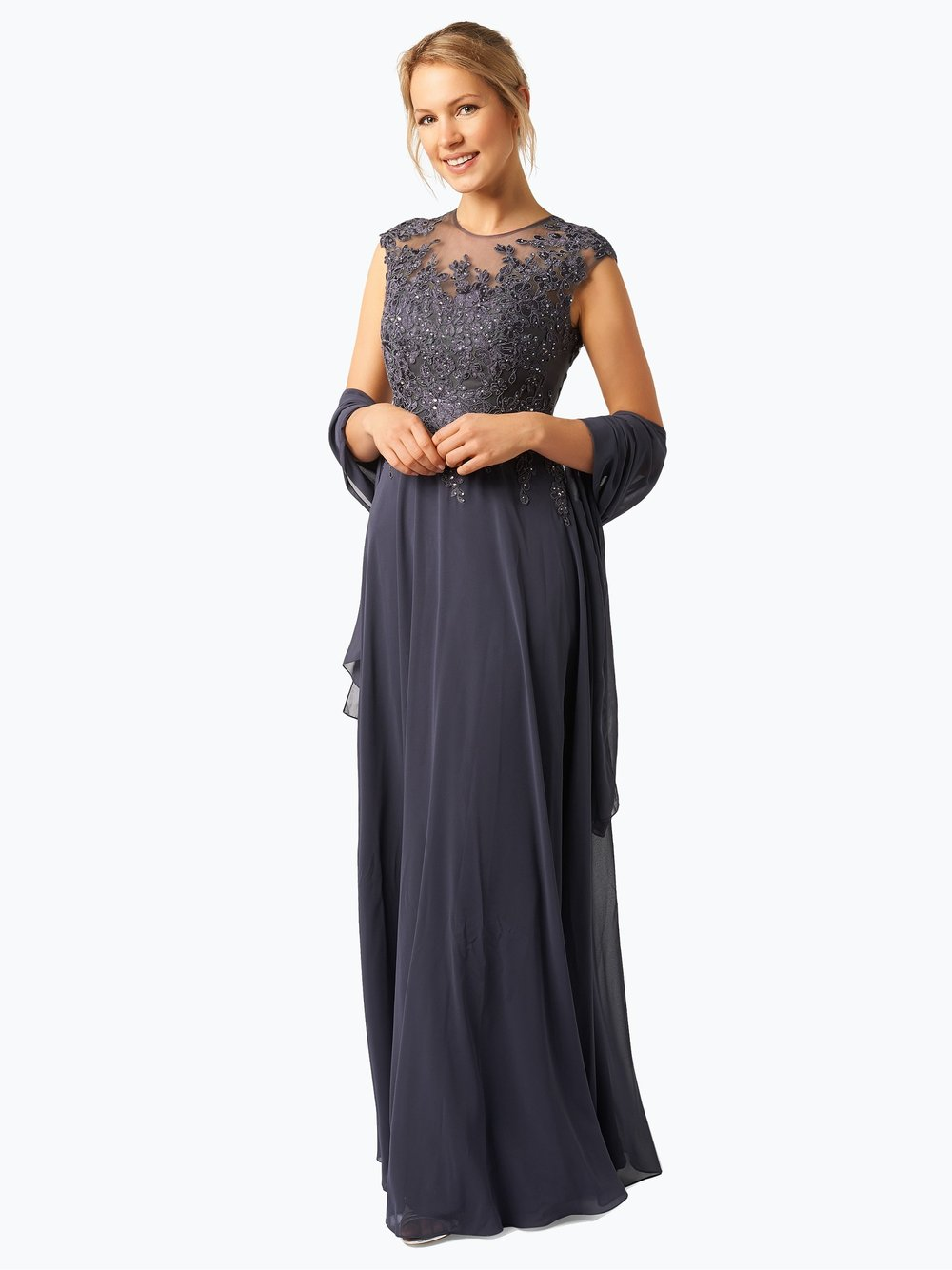 Damen Abendkleid mit Stola grau Luxuar Fashion rdgB6FT