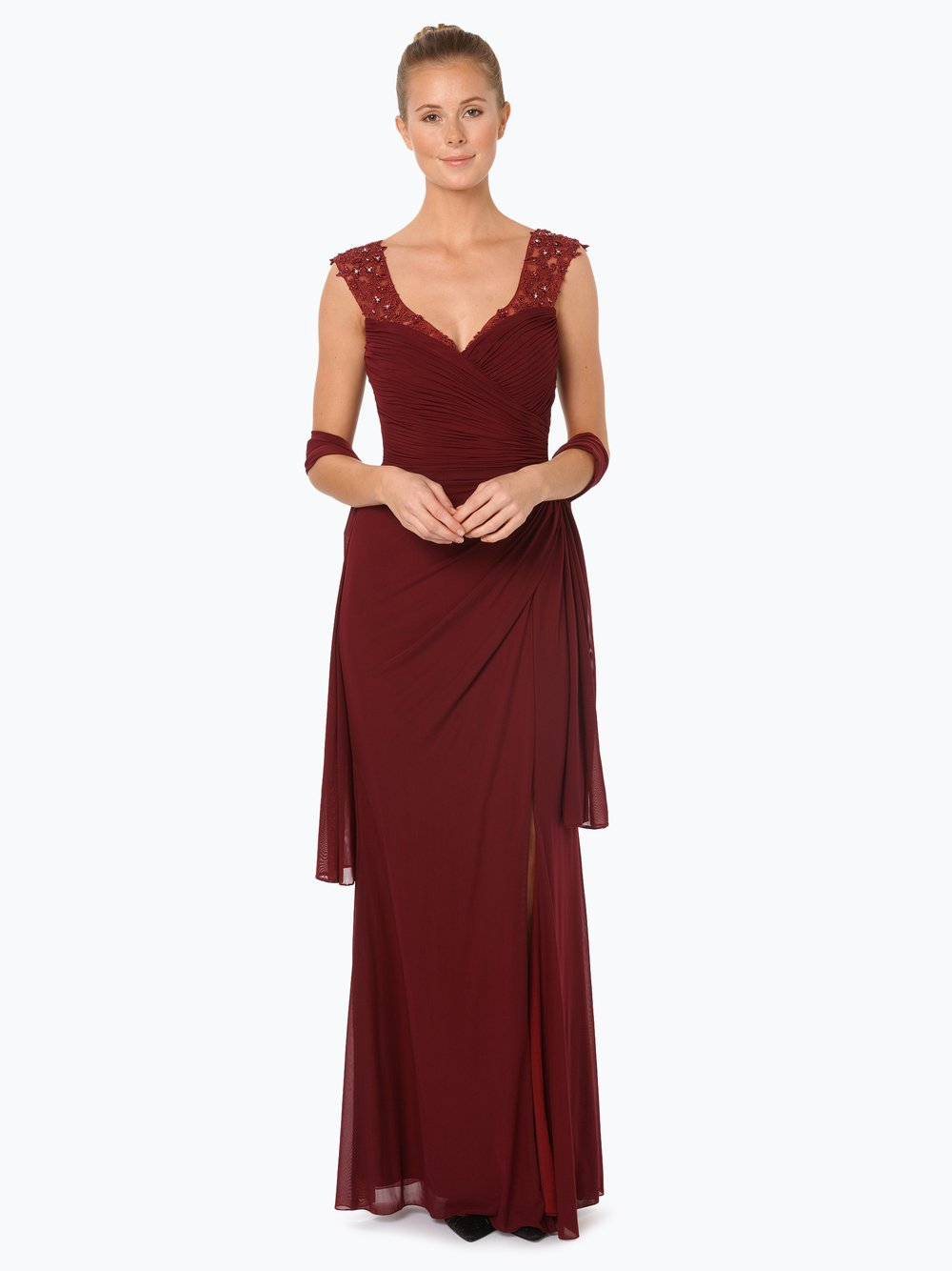 Luxuar Fashion Damen Abendkleid mit Stola bordeaux uni online kaufen ...