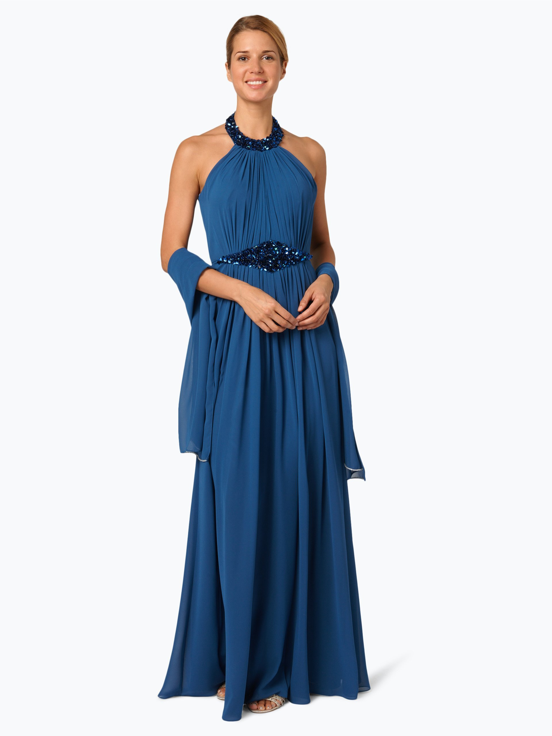luxuar fashion damen abendkleid mit stola blau uni online. Black Bedroom Furniture Sets. Home Design Ideas