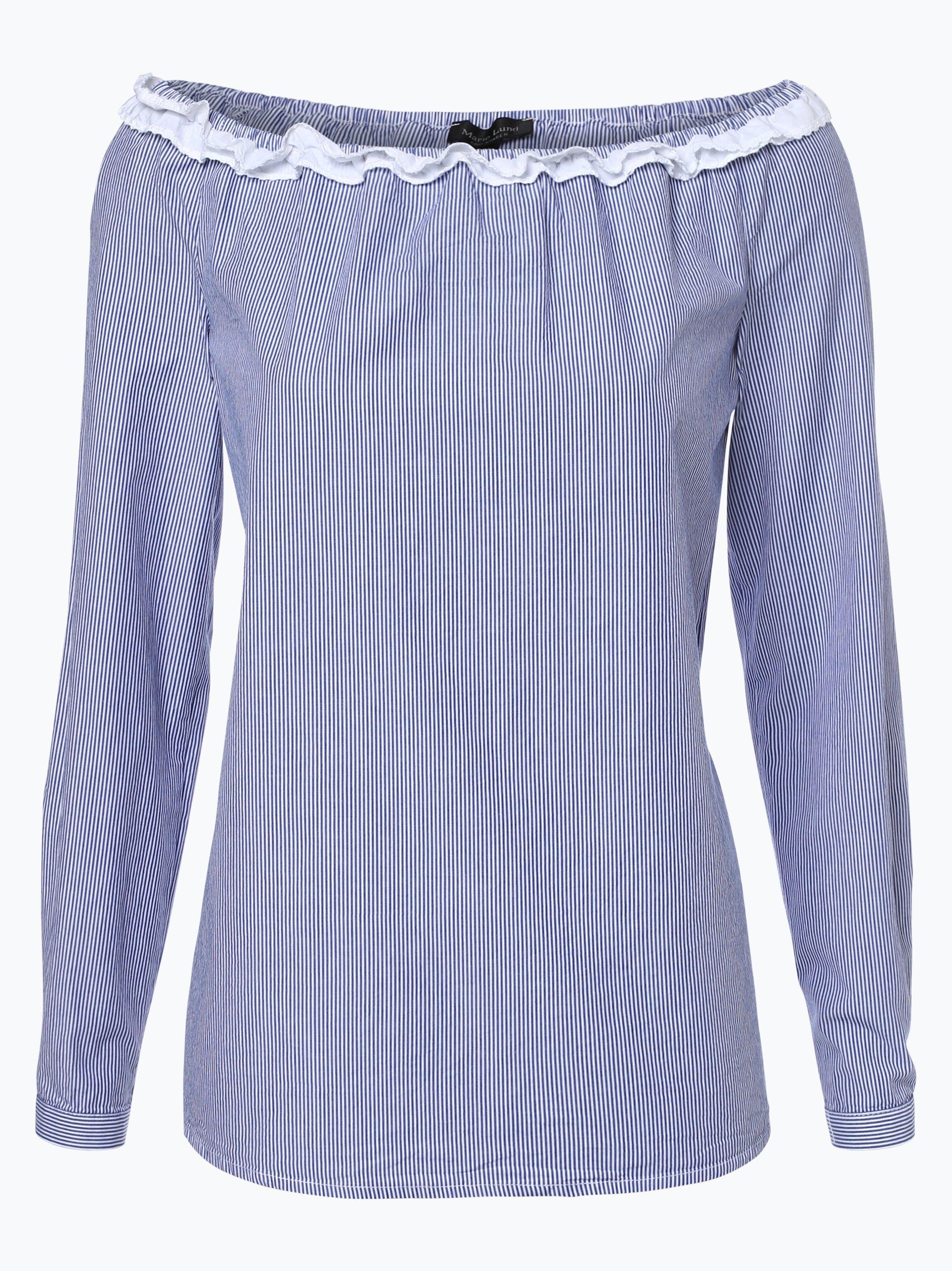 marie lund damen bluse blau gemustert online kaufen vangraaf com. Black Bedroom Furniture Sets. Home Design Ideas