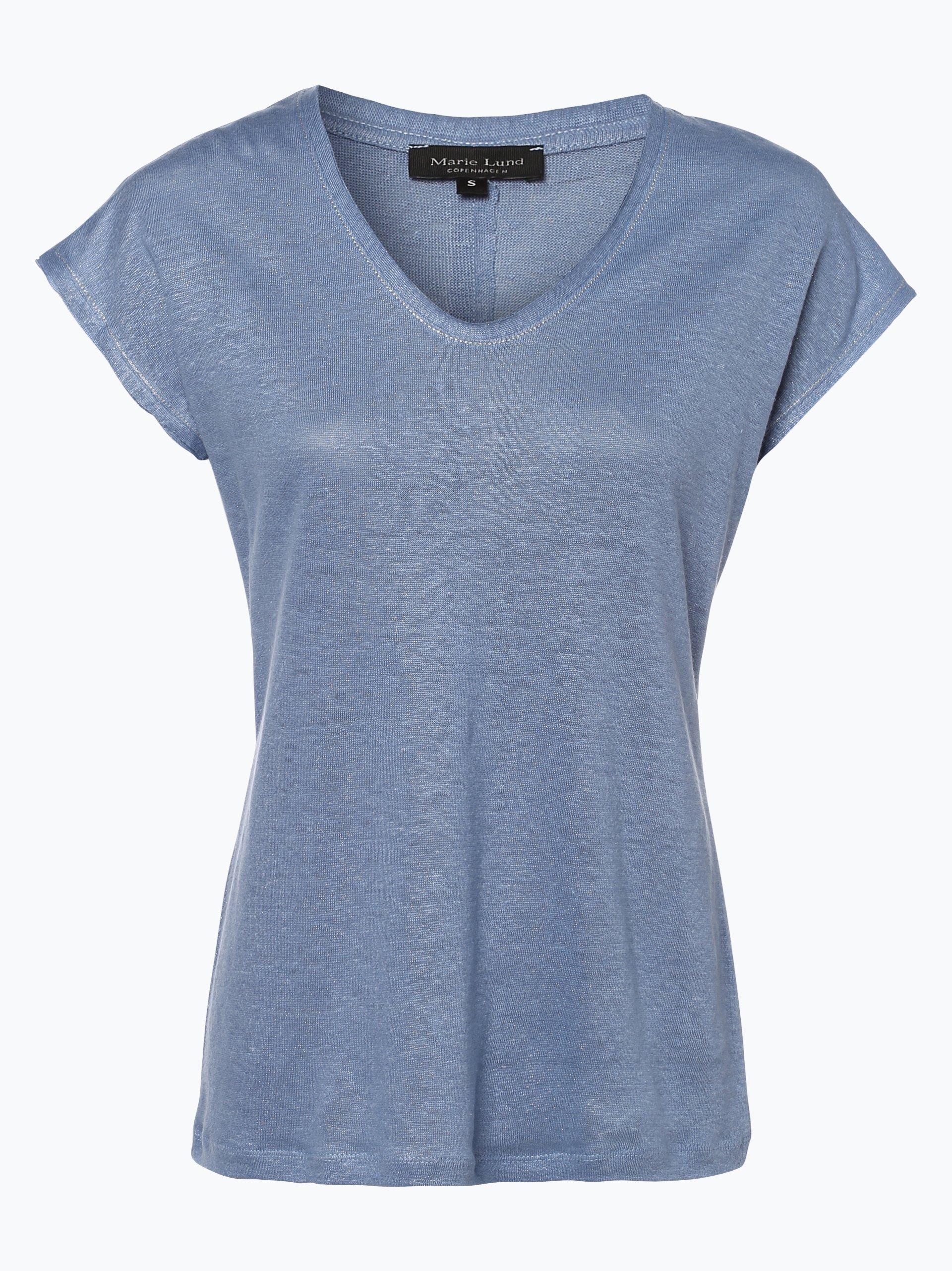 marie lund damen t shirt aus leinen indigo uni online. Black Bedroom Furniture Sets. Home Design Ideas