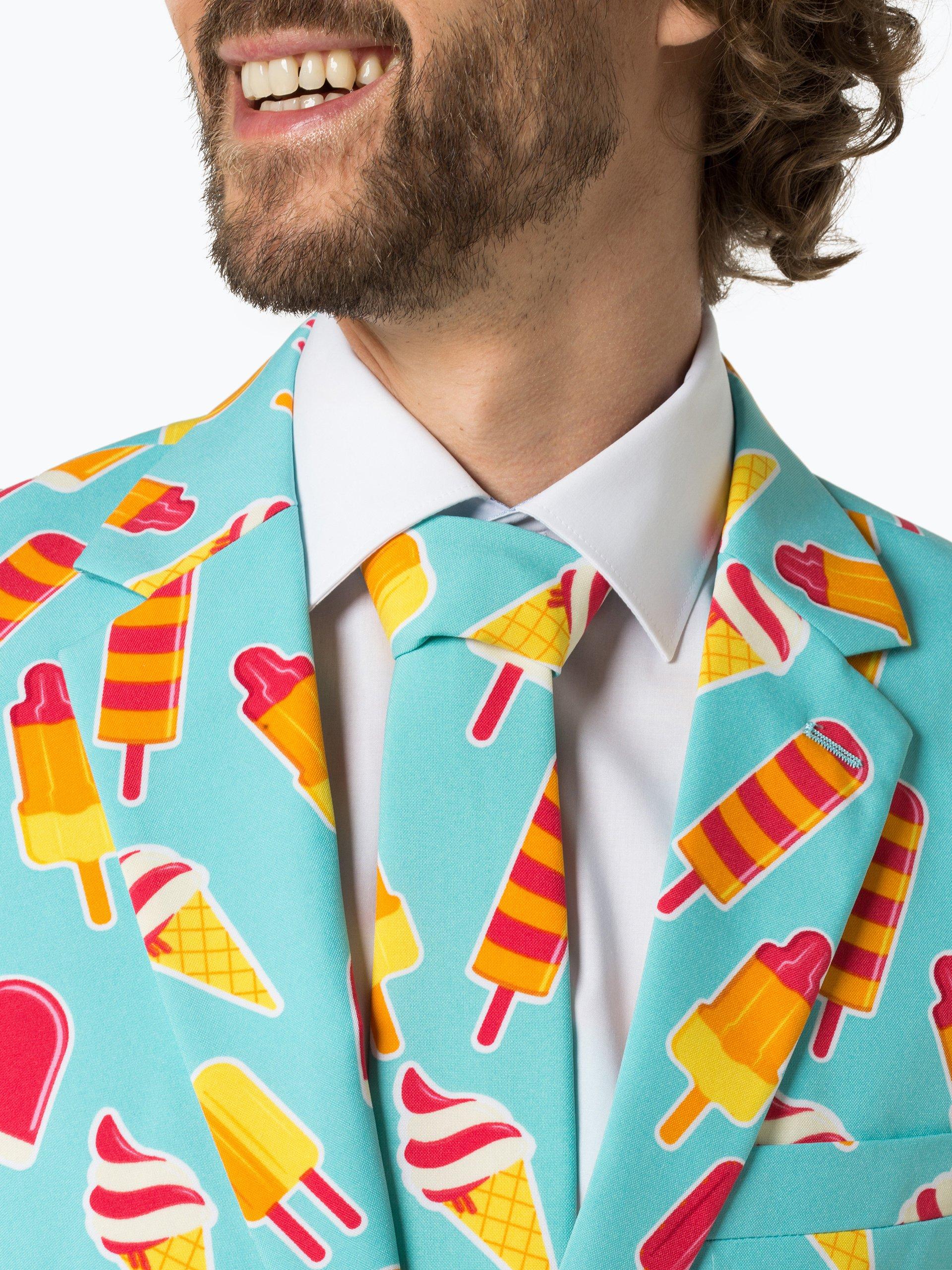 OppoSuits Herren Anzug mit Krawatte - Iceman