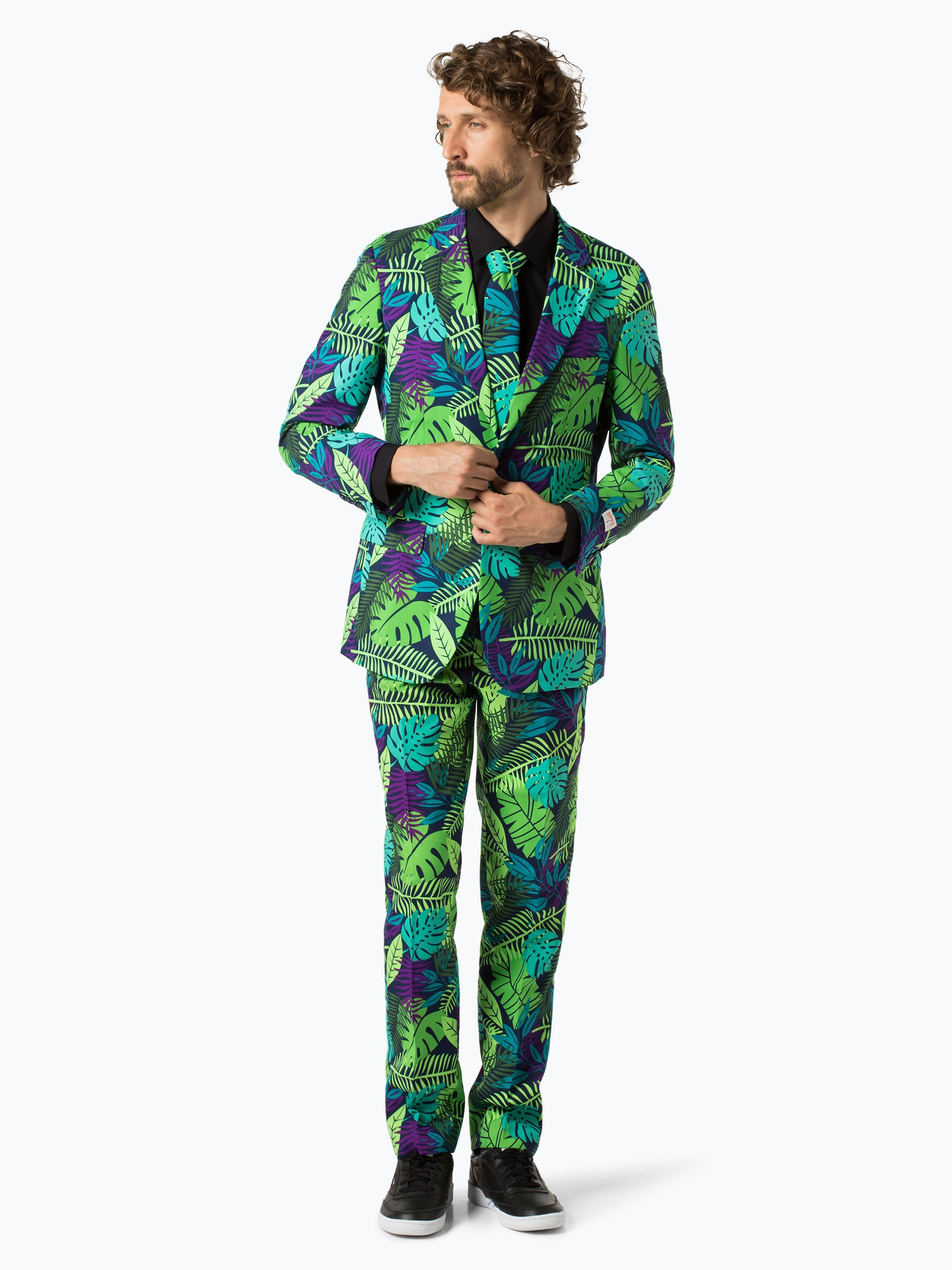 opposuits herren anzug mit krawatte gr n gemustert online. Black Bedroom Furniture Sets. Home Design Ideas