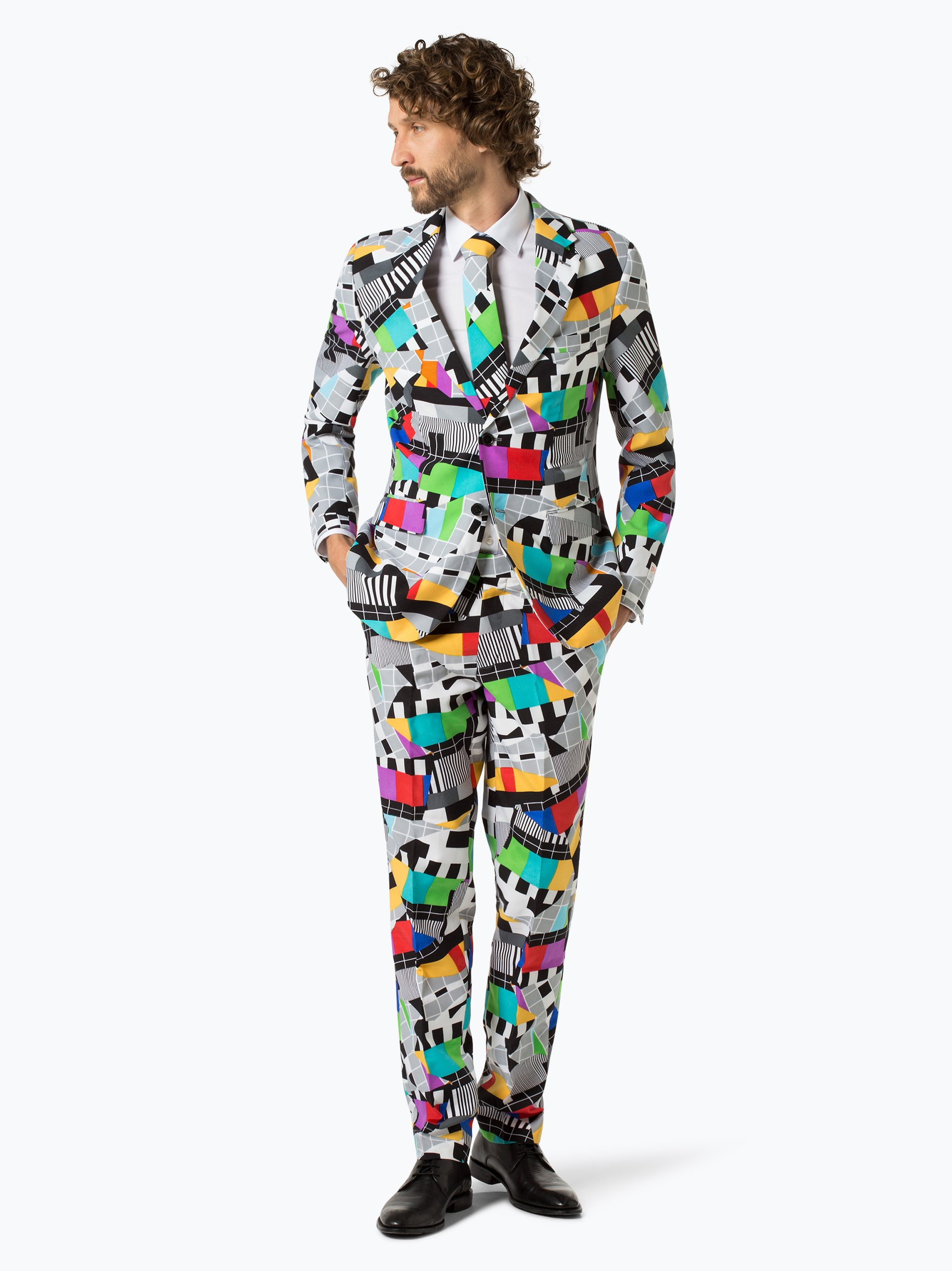 opposuits herren anzug mit krawatte grau gemustert online. Black Bedroom Furniture Sets. Home Design Ideas