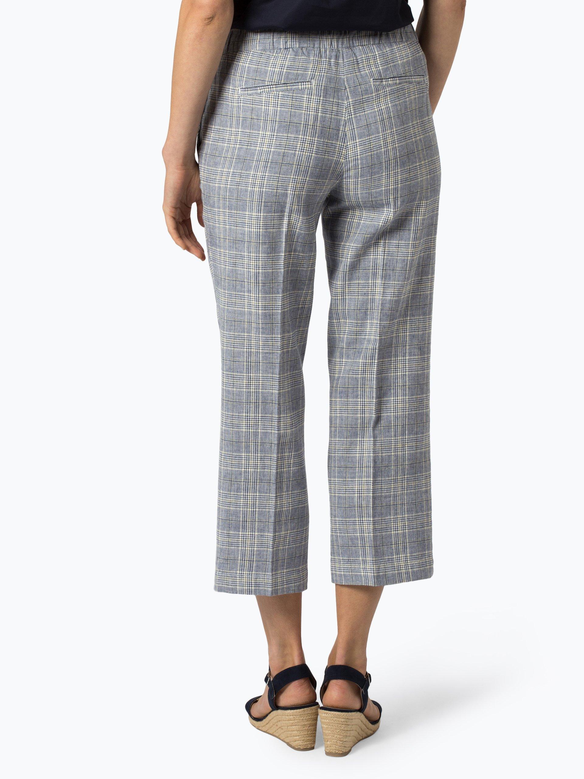 Opus Spodnie damskie z dodatkiem lnu – Mutsuko Fine Check