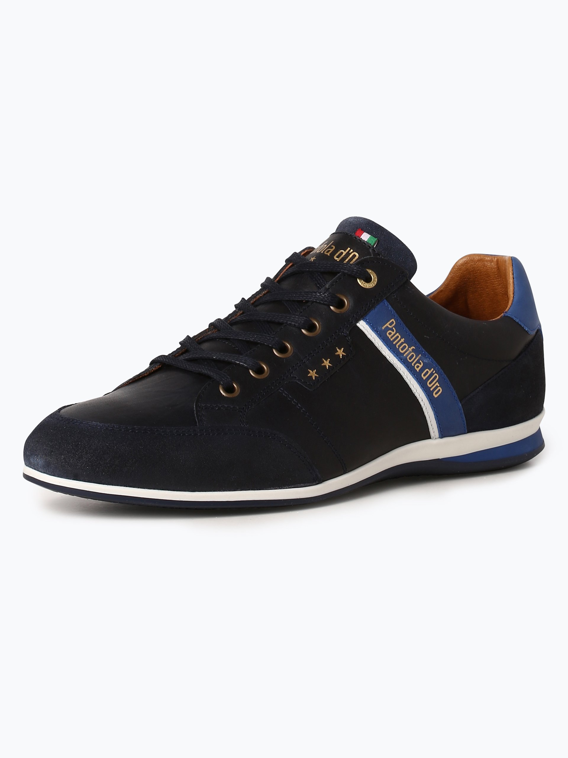 pantofola d oro herren sneaker aus leder roma blau uni. Black Bedroom Furniture Sets. Home Design Ideas