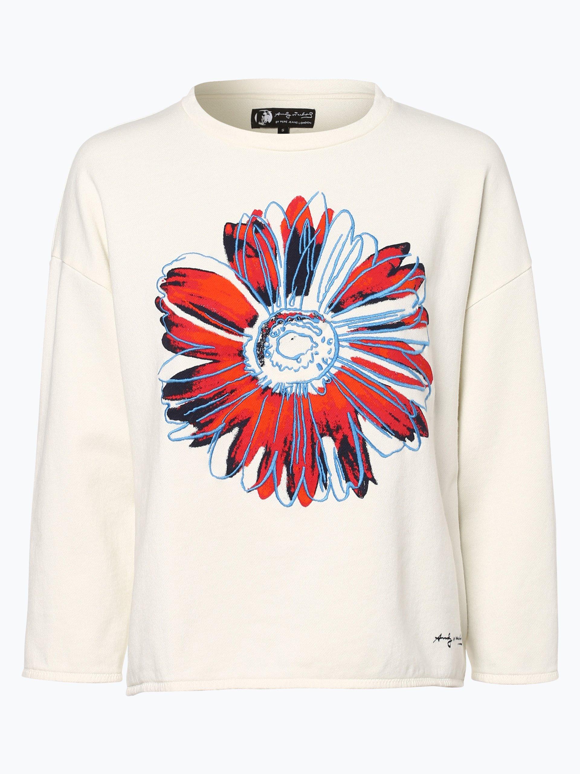 pepe jeans damen sweatshirt linda by andy warhol ecru gemustert online kaufen vangraaf com. Black Bedroom Furniture Sets. Home Design Ideas