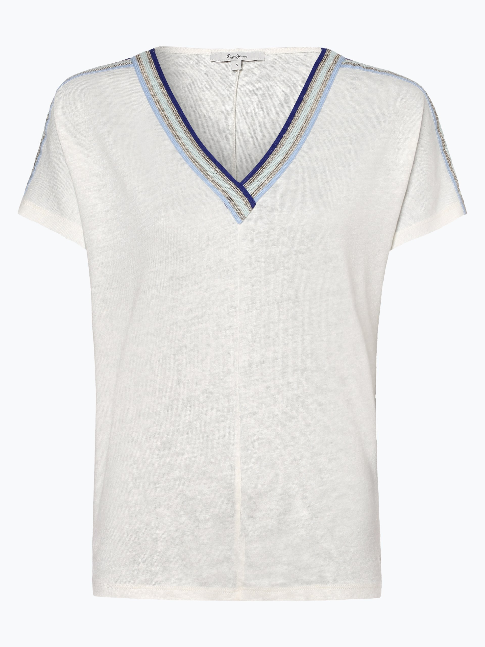 Pepe Jeans Damen T-Shirt mit Leinen-Anteil - Antonia