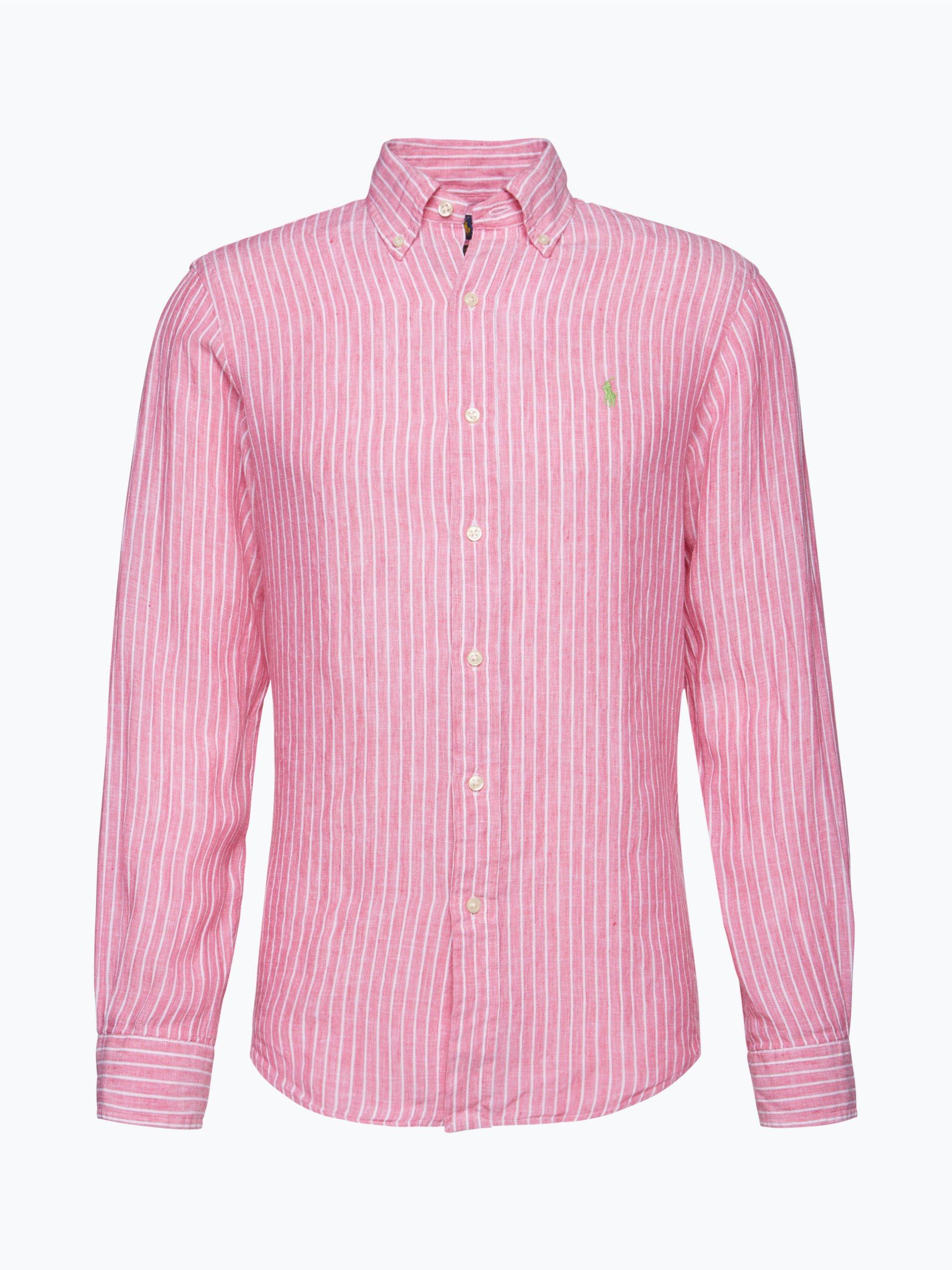 polo ralph lauren herren hemd aus leinen pink gestreift. Black Bedroom Furniture Sets. Home Design Ideas