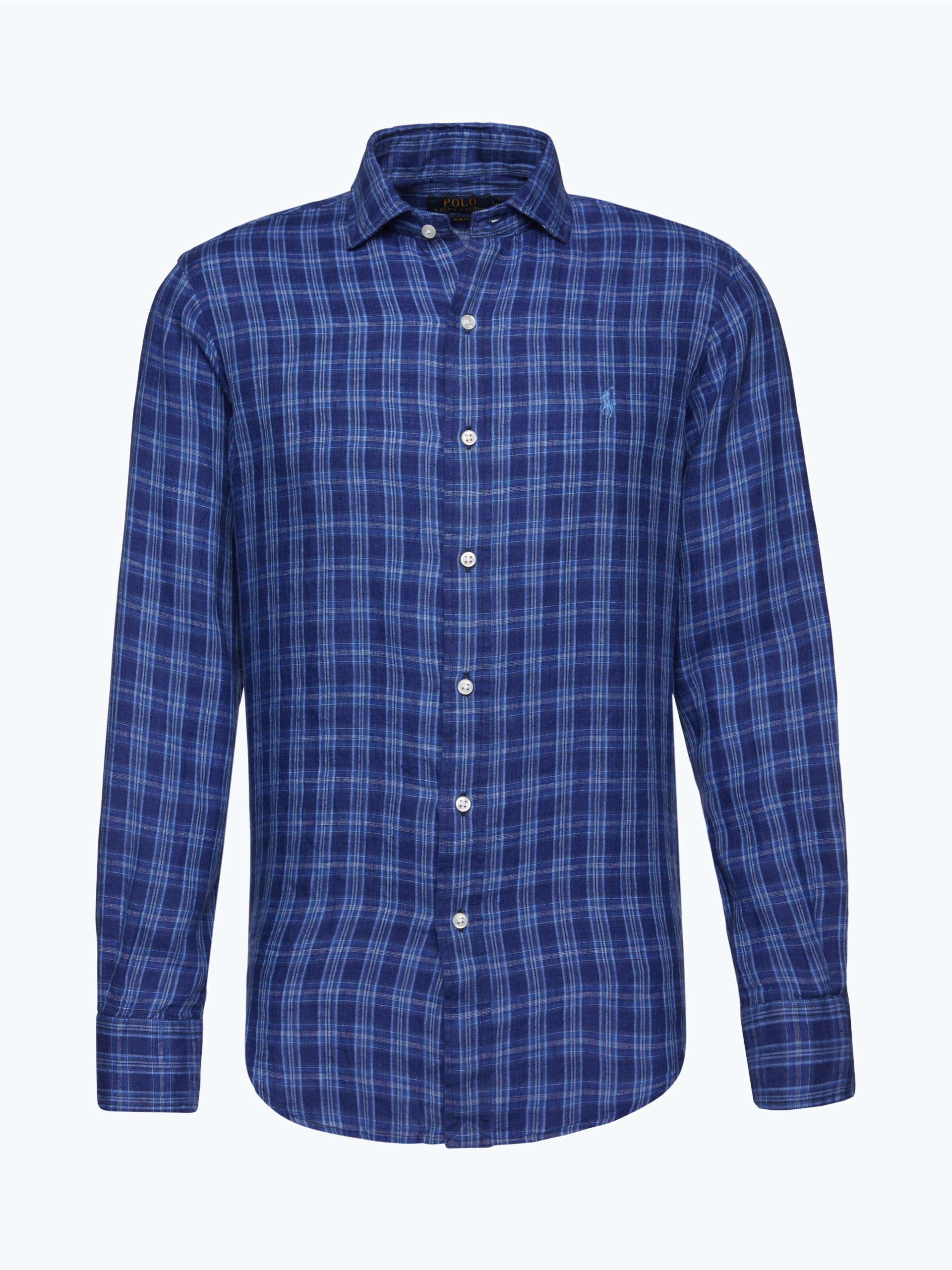 polo ralph lauren herren hemd aus leinen blau kariert online kaufen vangraaf com. Black Bedroom Furniture Sets. Home Design Ideas