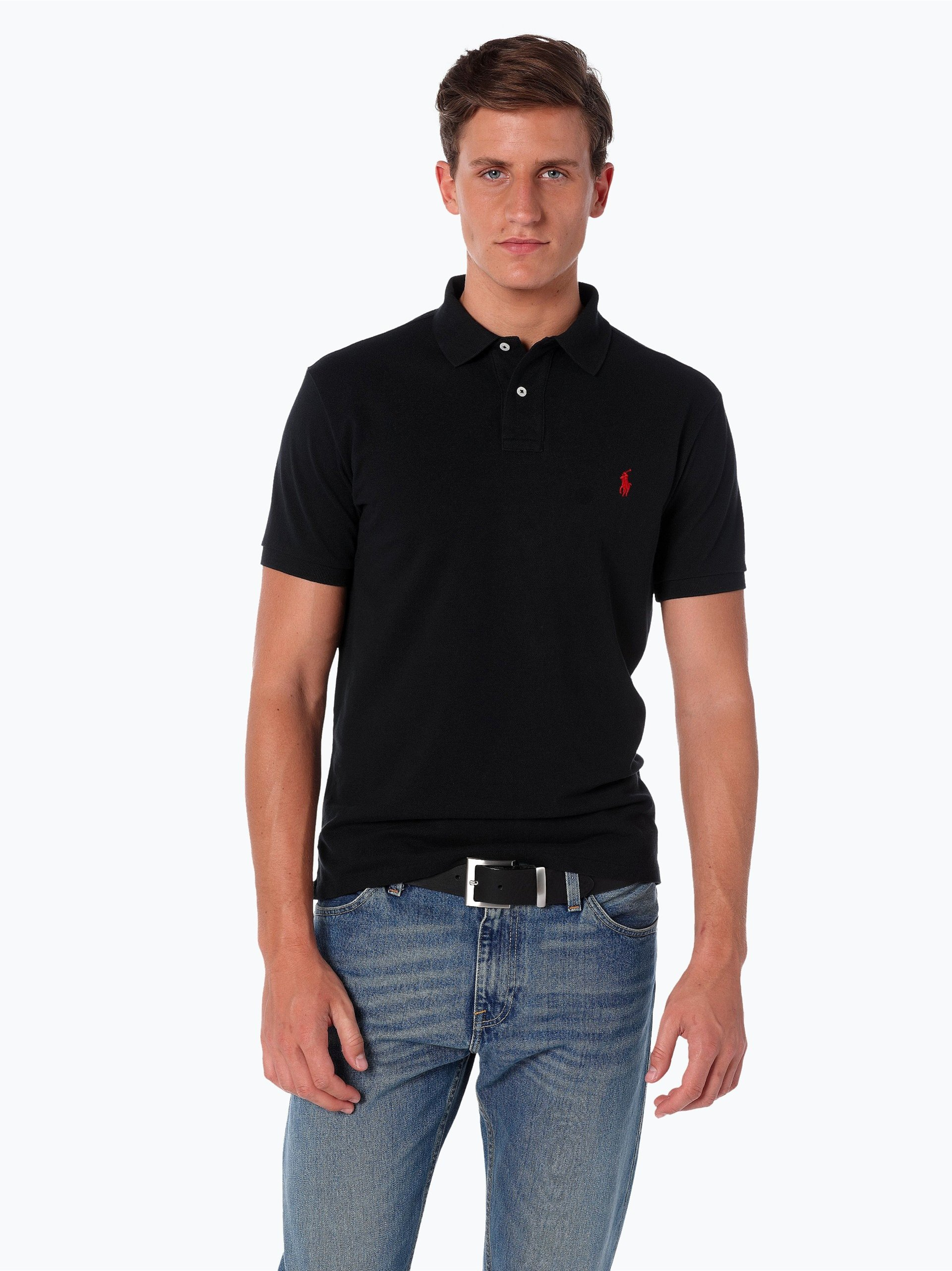 polo ralph lauren herren poloshirt schwarz uni online. Black Bedroom Furniture Sets. Home Design Ideas
