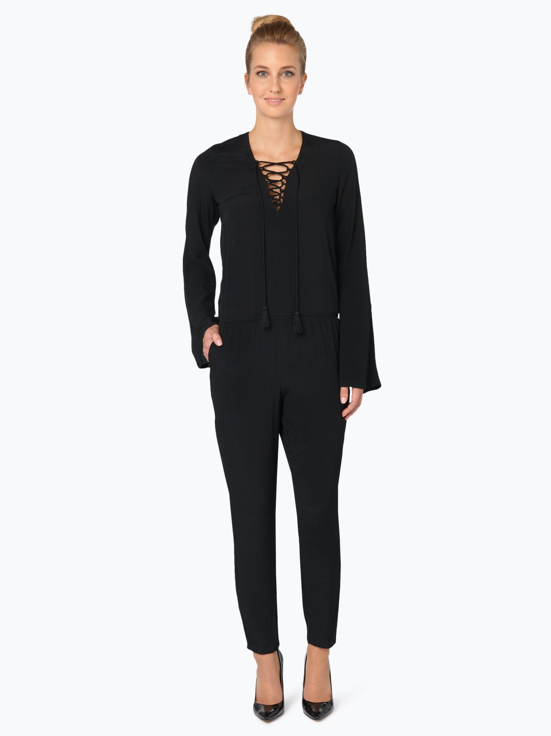 review damen jumpsuit schwarz wei uni online kaufen. Black Bedroom Furniture Sets. Home Design Ideas