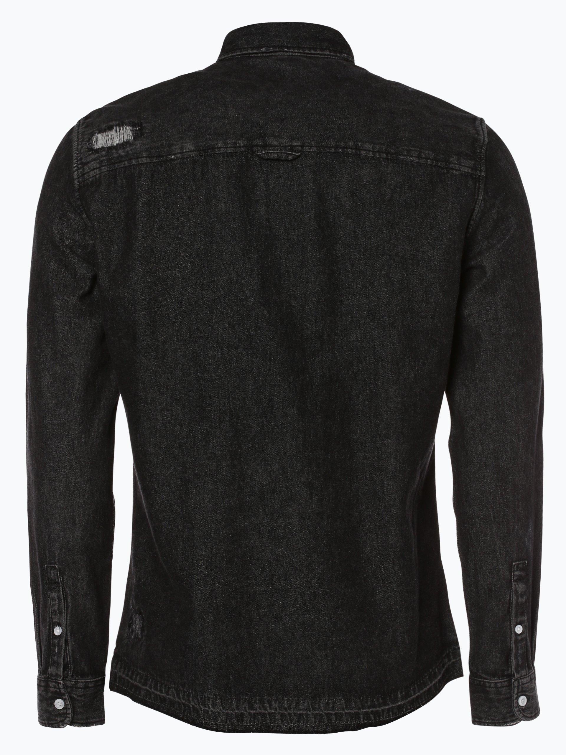 review herren jeanshemd schwarz uni online kaufen peek und cloppenburg de. Black Bedroom Furniture Sets. Home Design Ideas