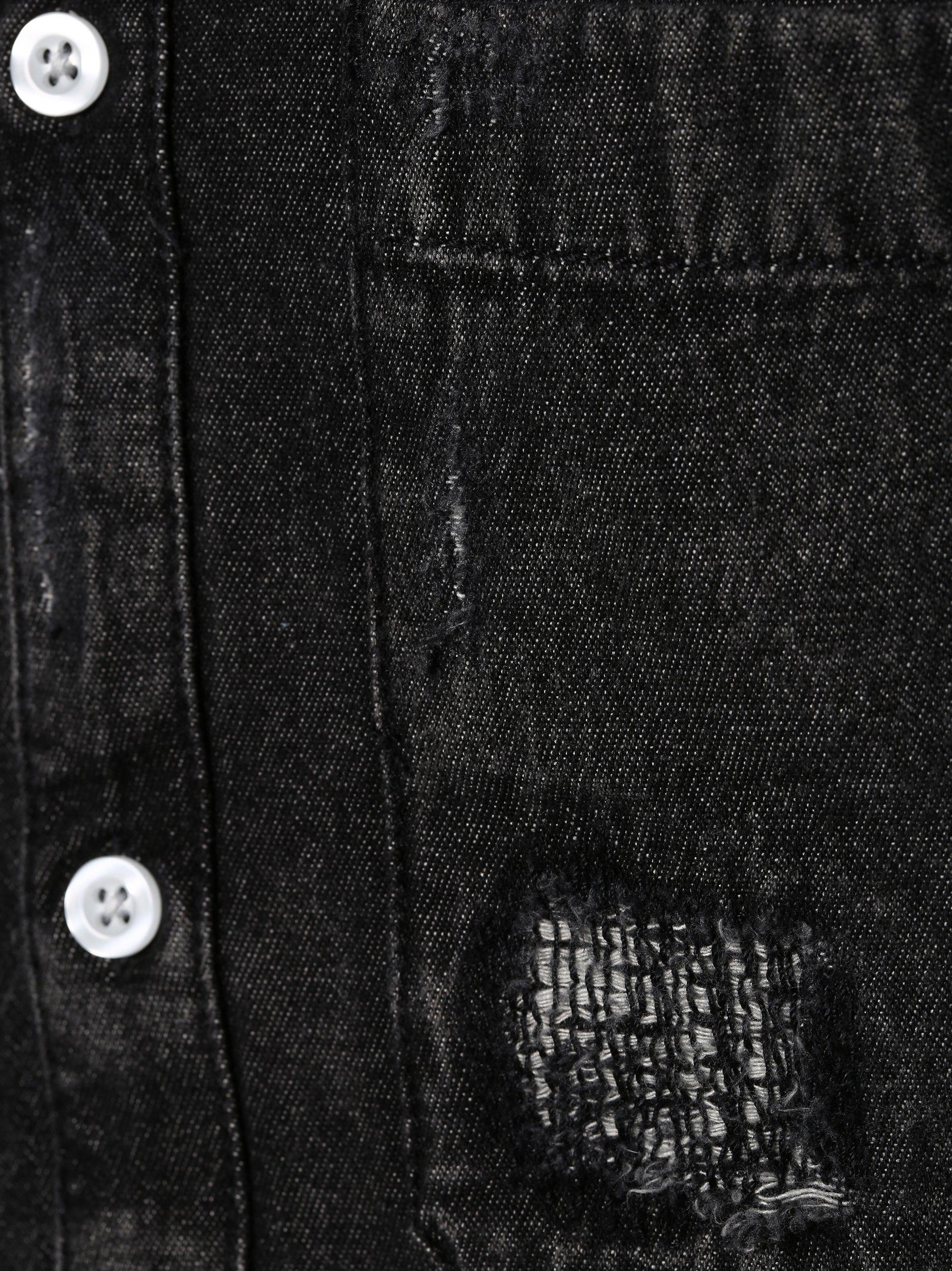 review herren jeanshemd schwarz uni online kaufen peek. Black Bedroom Furniture Sets. Home Design Ideas