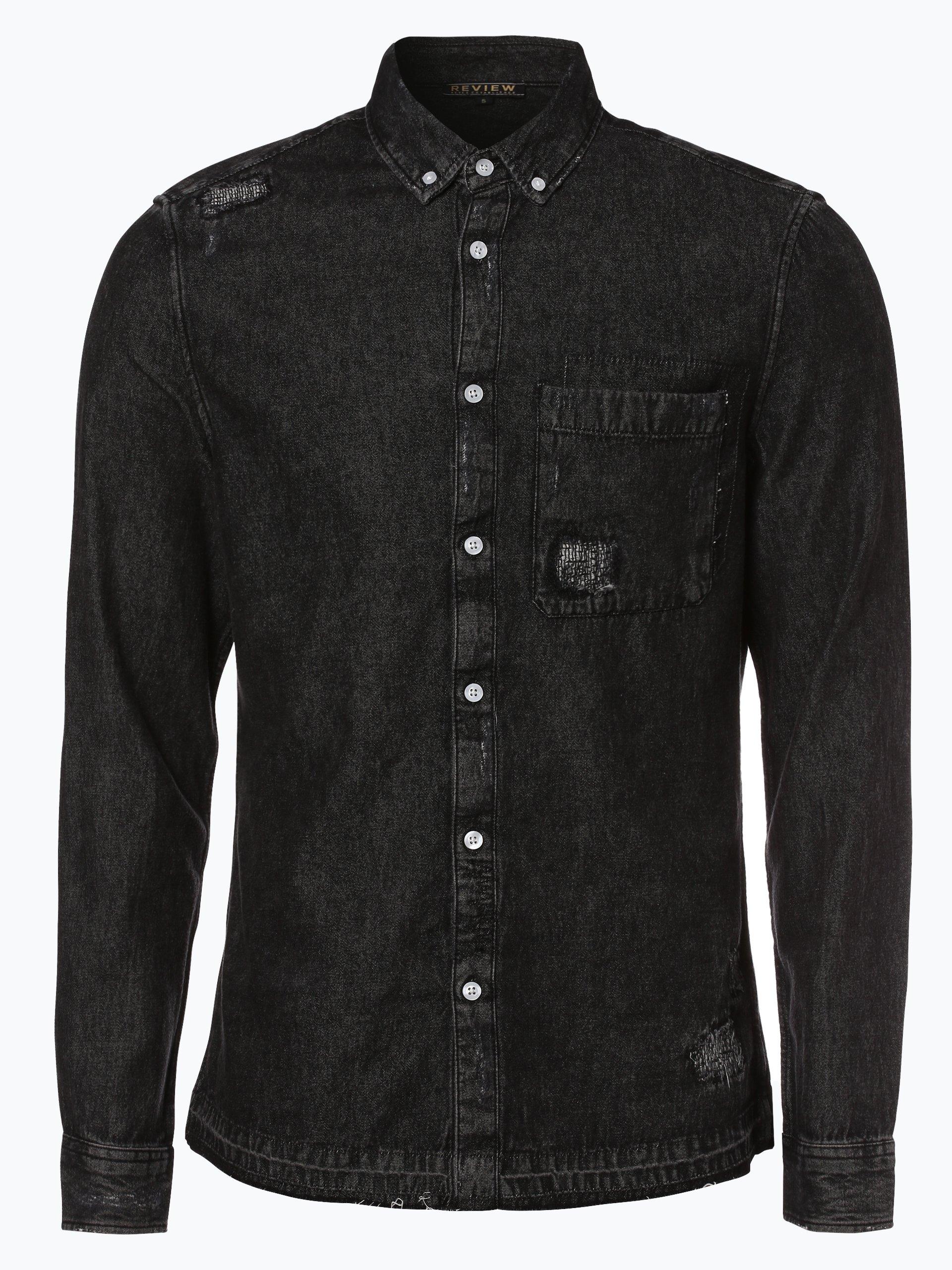 review herren jeanshemd schwarz uni online kaufen vangraaf com. Black Bedroom Furniture Sets. Home Design Ideas