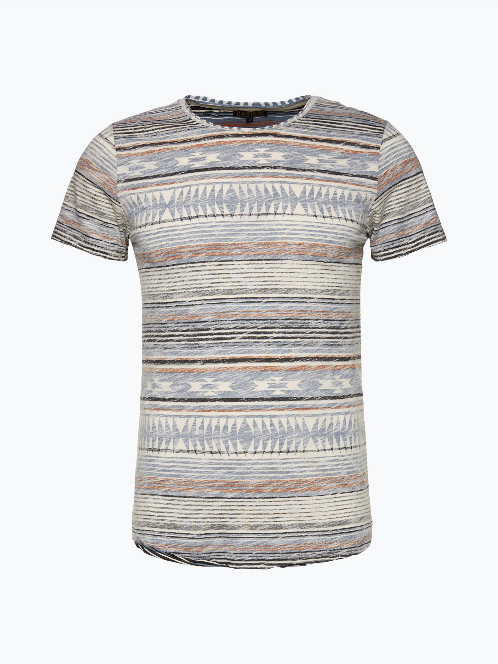 review herren t shirt indigo gemustert online kaufen vangraaf com. Black Bedroom Furniture Sets. Home Design Ideas