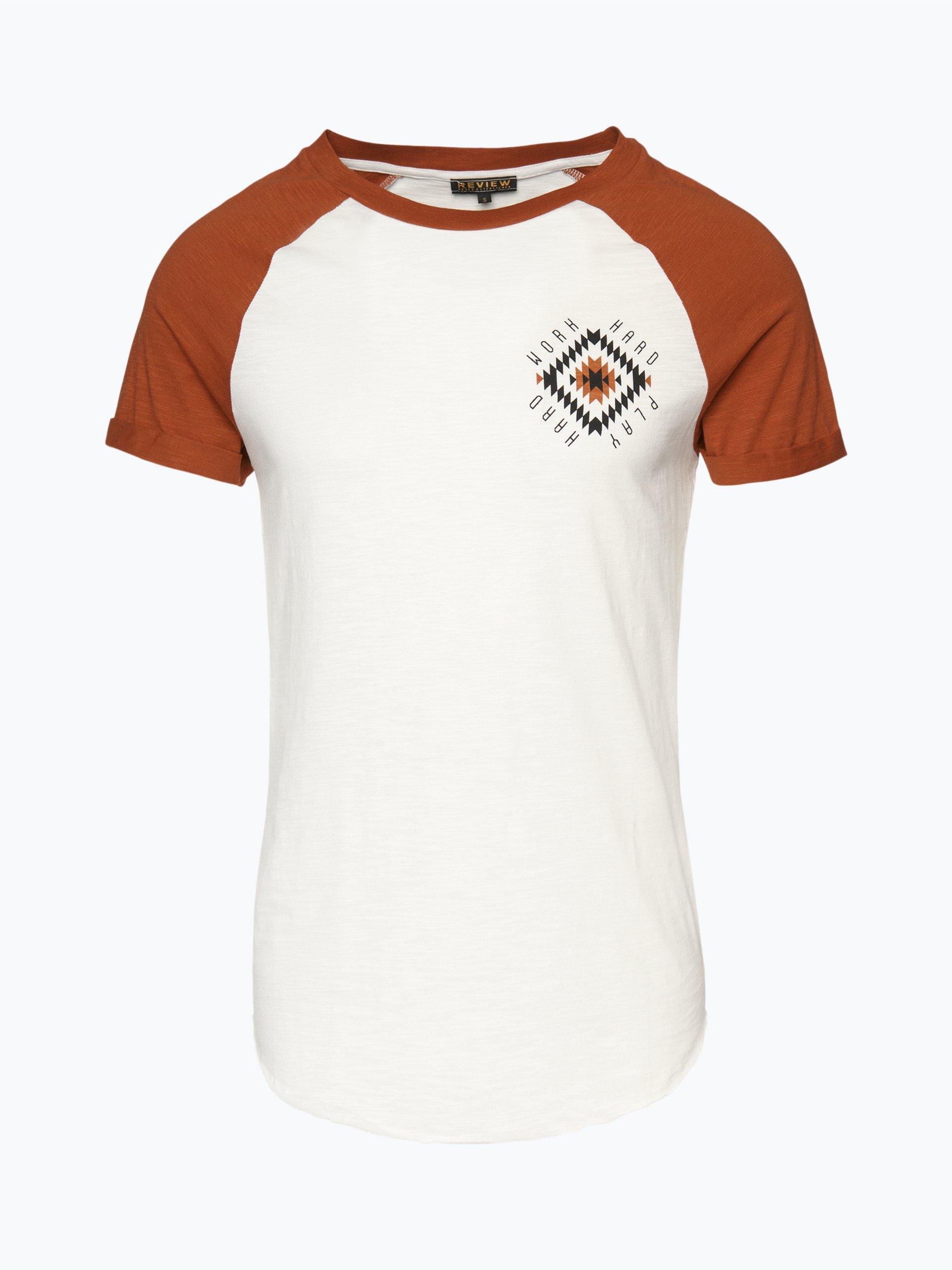 review herren t shirt cognac gemustert online kaufen. Black Bedroom Furniture Sets. Home Design Ideas