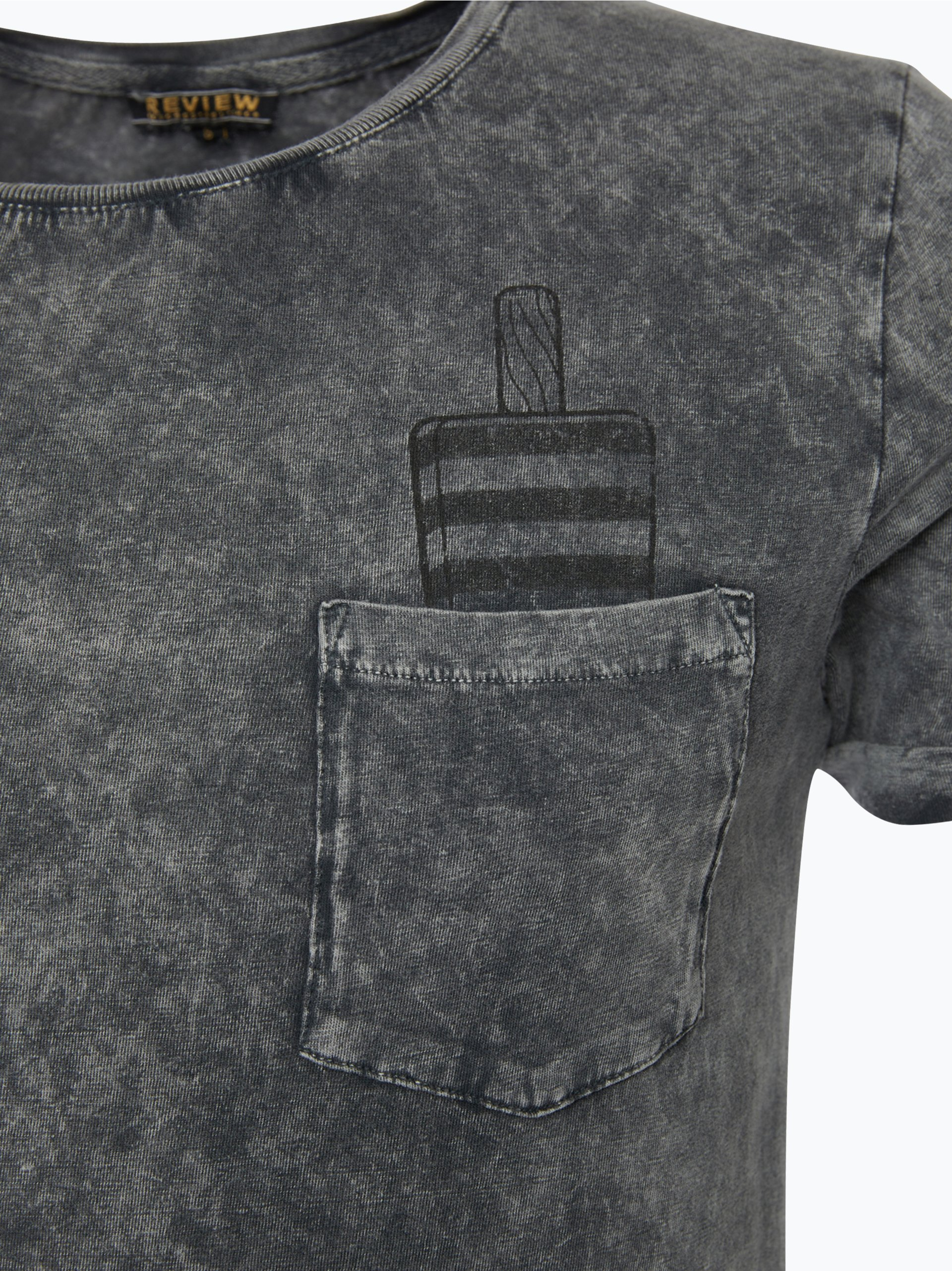 review herren t shirt grau gemustert online kaufen vangraaf com. Black Bedroom Furniture Sets. Home Design Ideas