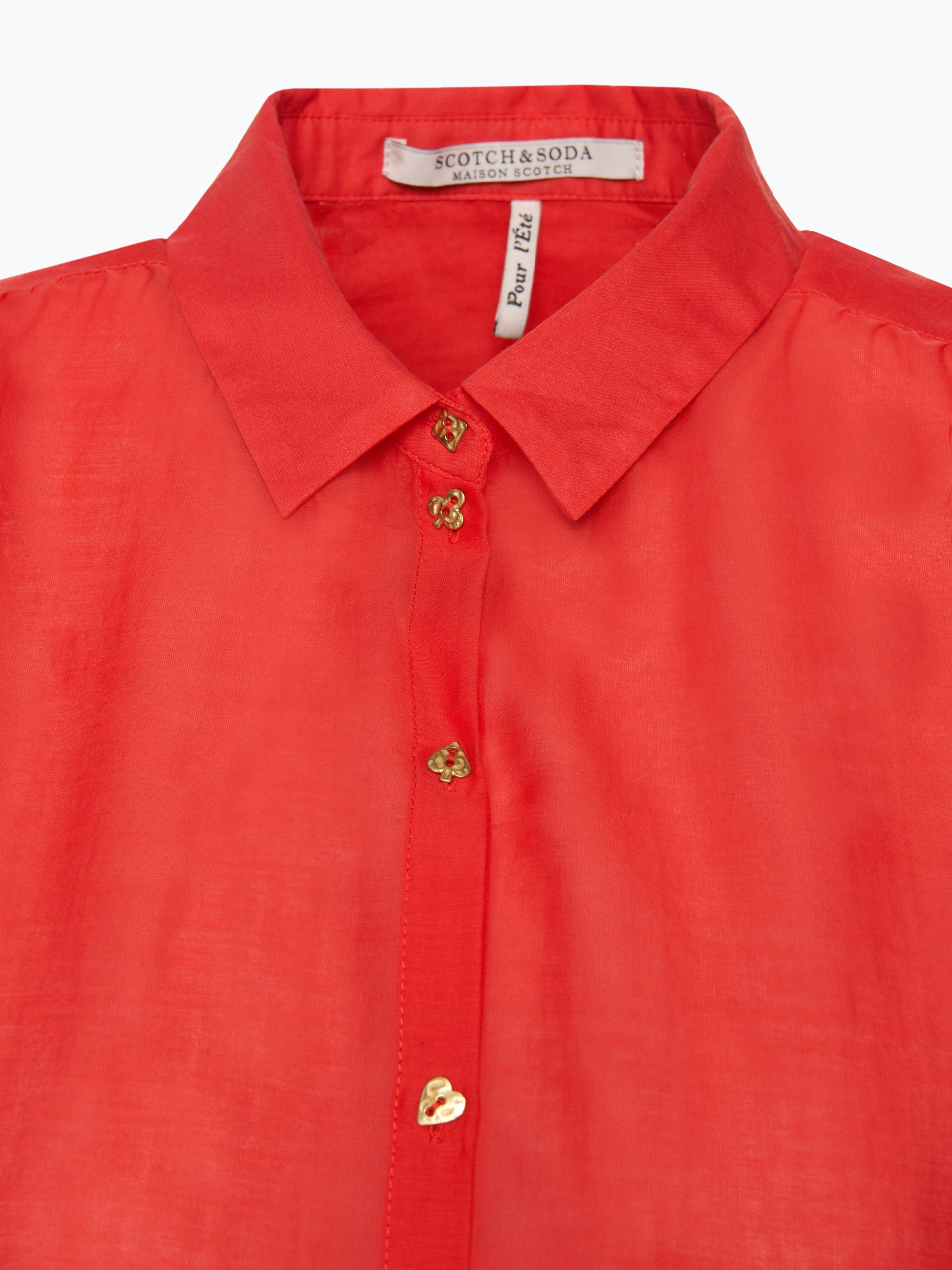 scotch soda damen bluse mit seiden anteil rot uni online. Black Bedroom Furniture Sets. Home Design Ideas