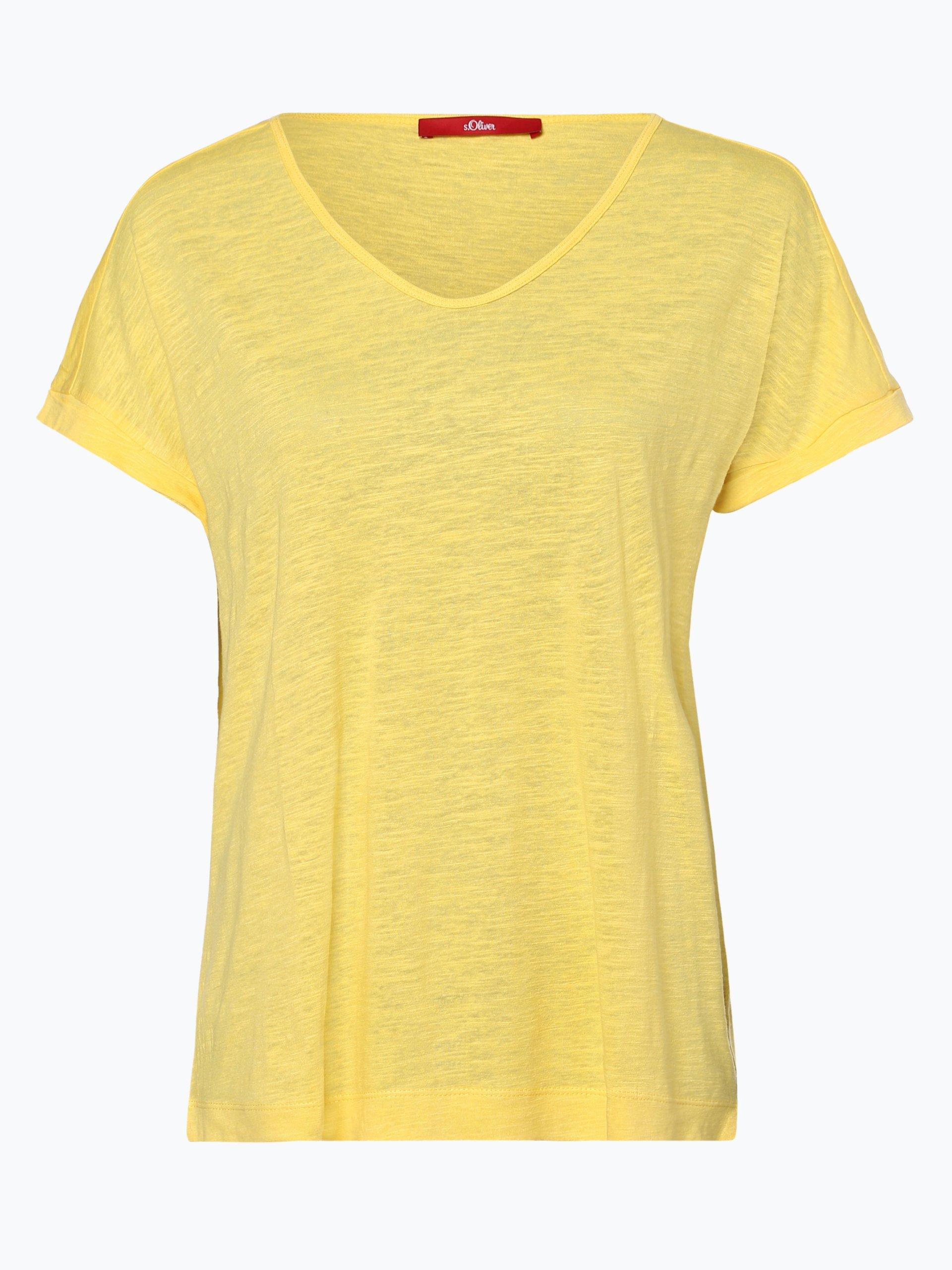 s.Oliver Damen T-Shirt mit Leinen-Anteil