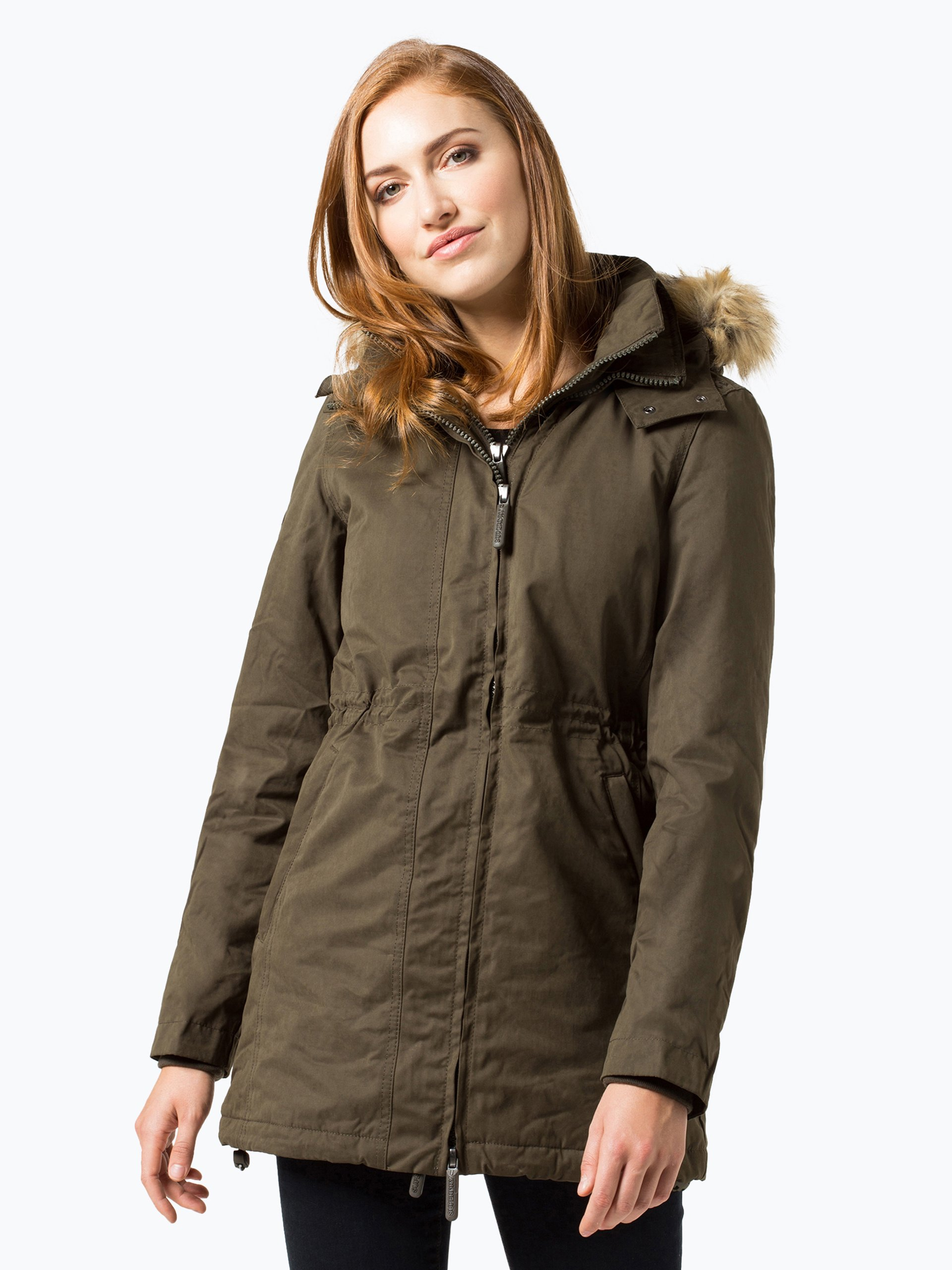 superdry damen parka oliv uni online kaufen vangraaf com. Black Bedroom Furniture Sets. Home Design Ideas