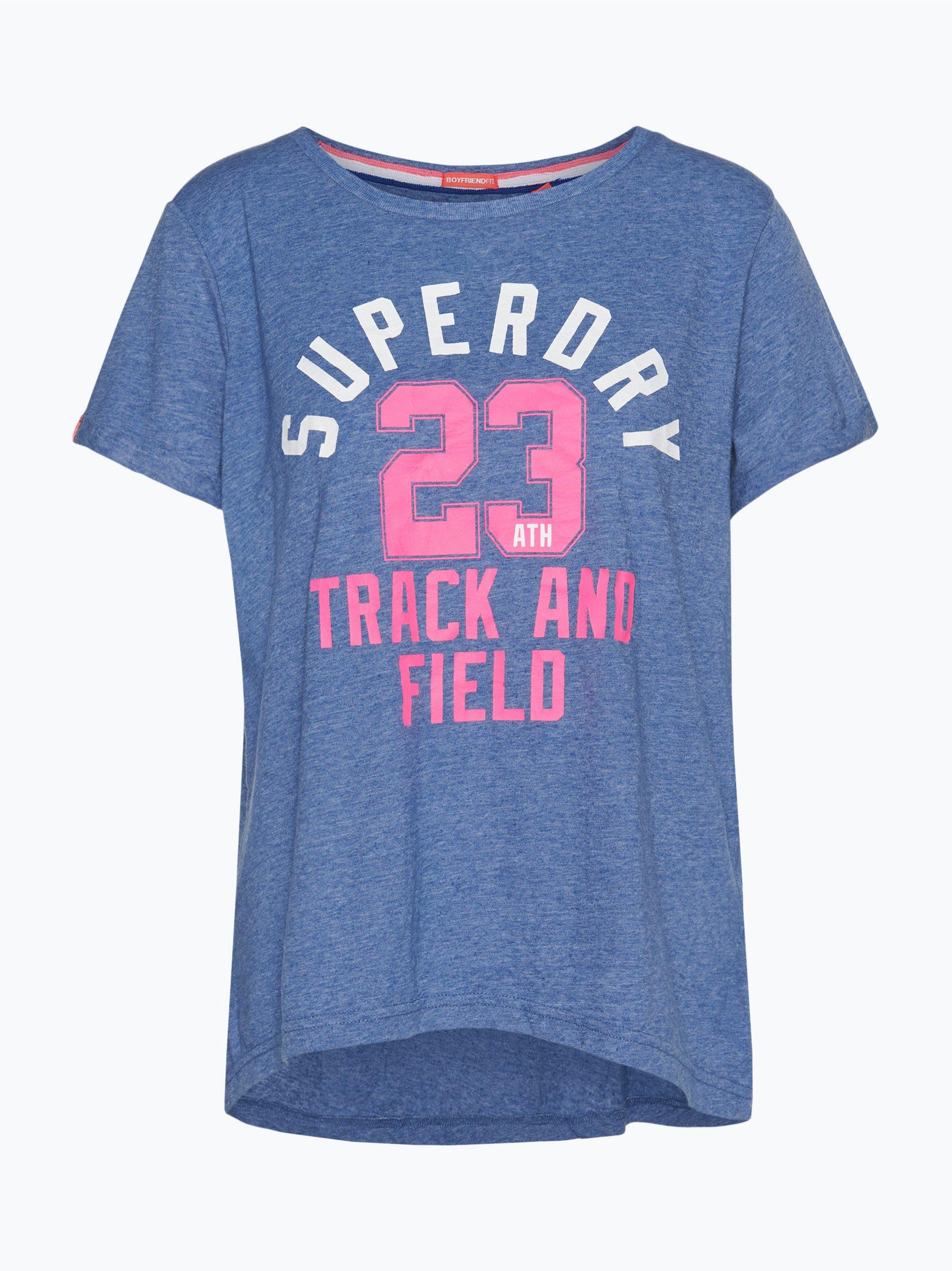 superdry damen t shirt trackster blau uni online kaufen. Black Bedroom Furniture Sets. Home Design Ideas