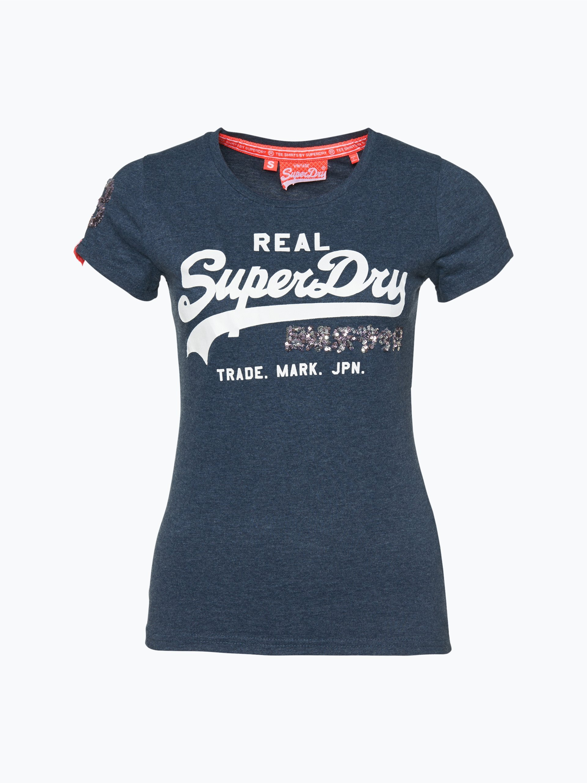 superdry damen t shirt blau uni online kaufen vangraaf com. Black Bedroom Furniture Sets. Home Design Ideas