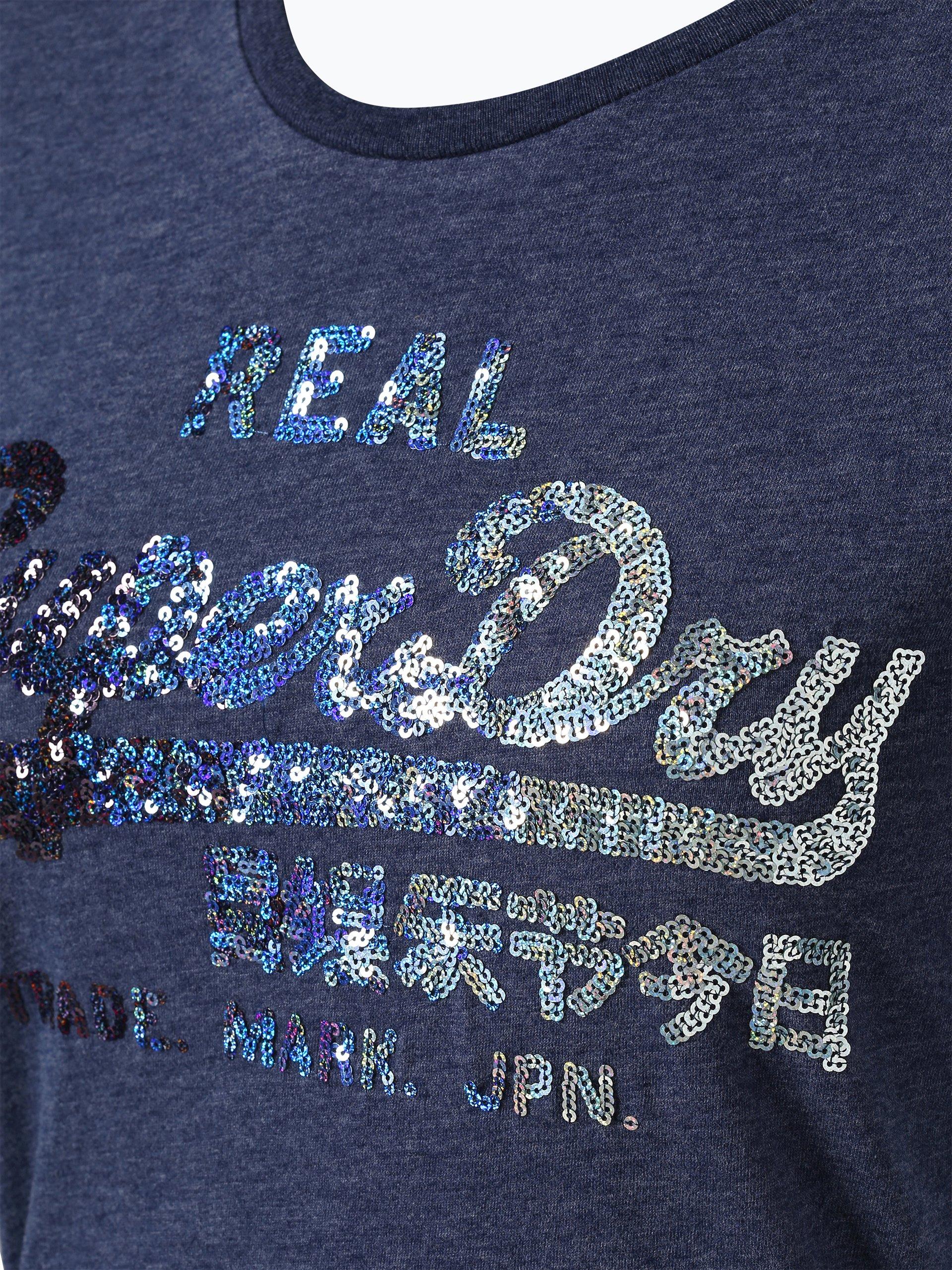 superdry damen t shirt blau denim uni online kaufen. Black Bedroom Furniture Sets. Home Design Ideas