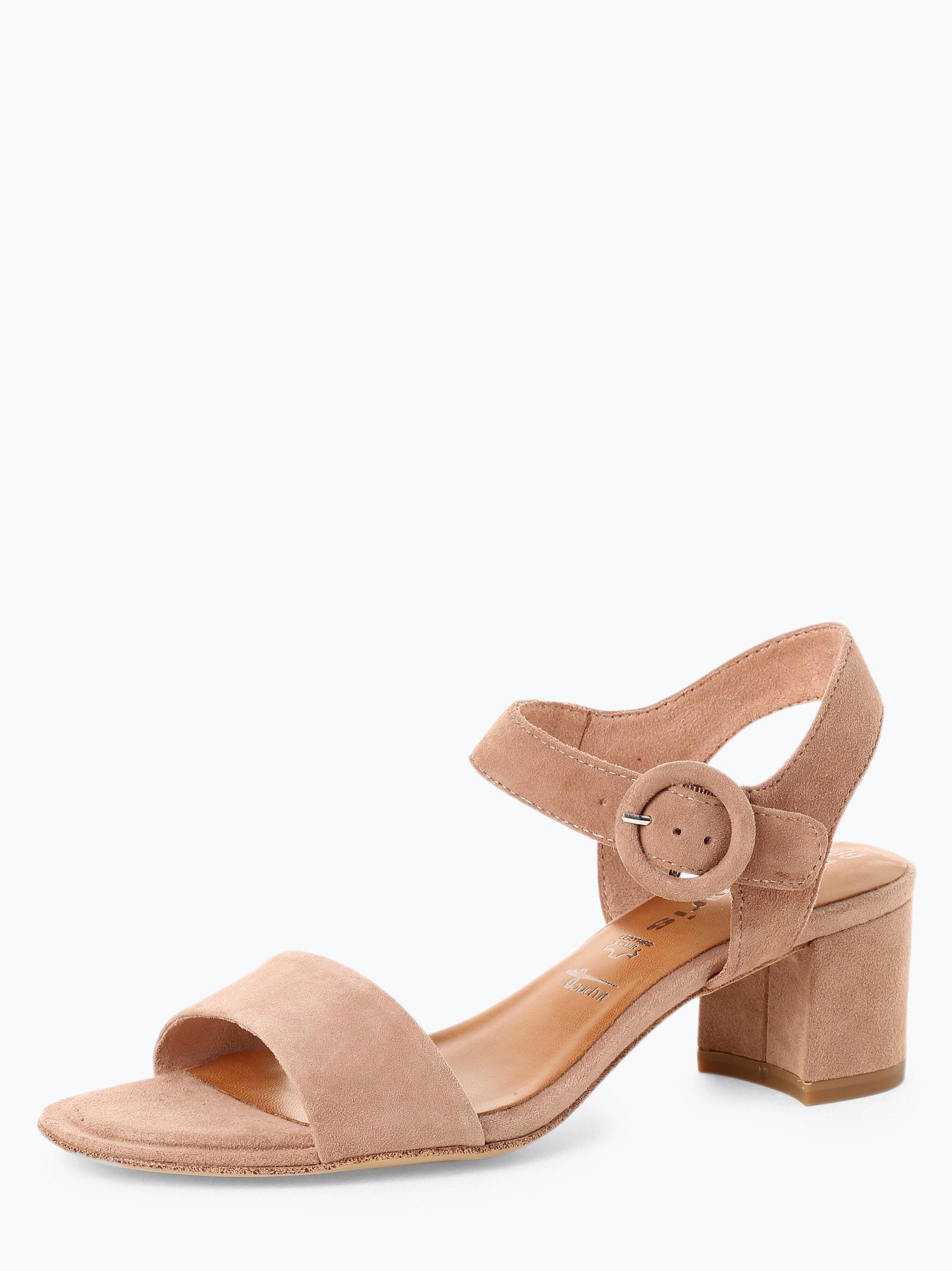 Tamaris Damskie skórzane sandały na obcasie