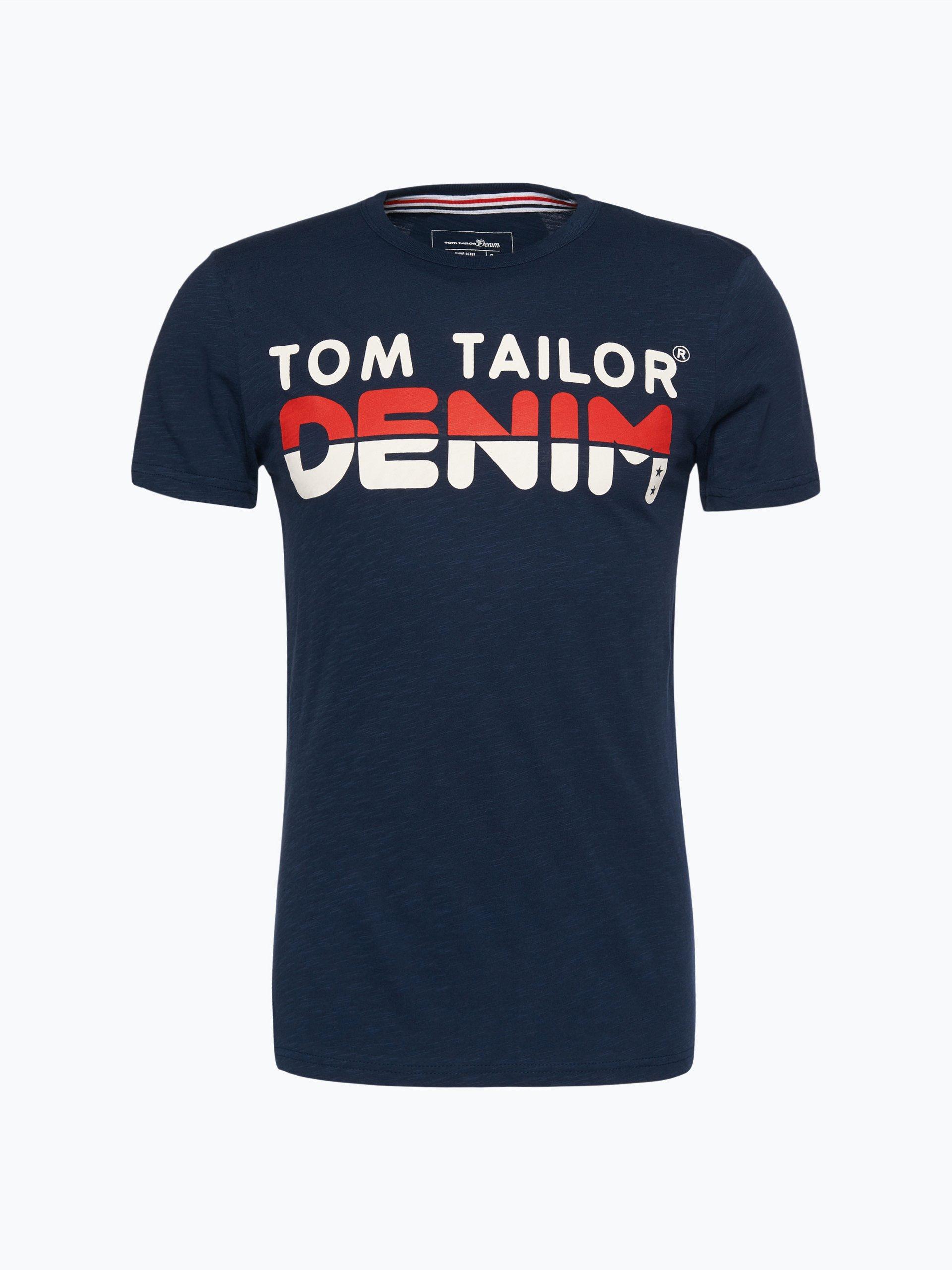 tom tailor denim herren t shirt marine gemustert online. Black Bedroom Furniture Sets. Home Design Ideas