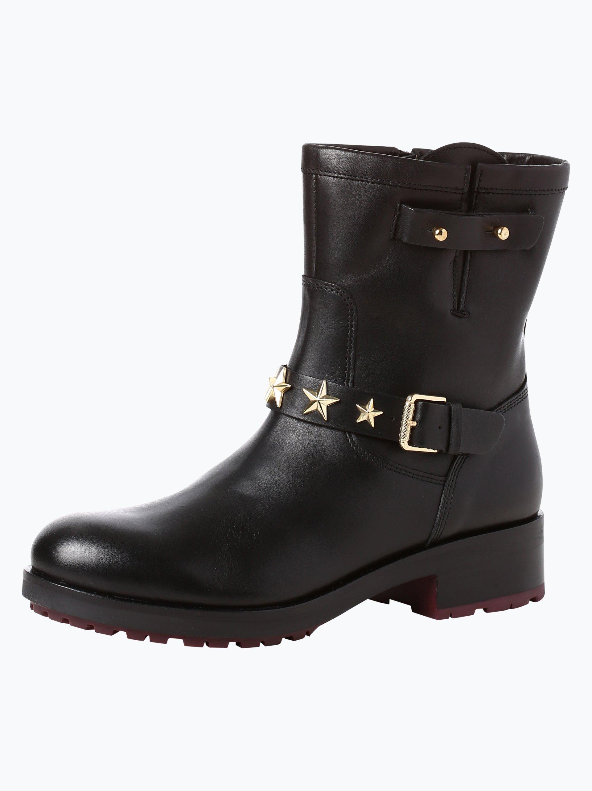 tommy hilfiger damen boots aus leder jill schwarz uni. Black Bedroom Furniture Sets. Home Design Ideas
