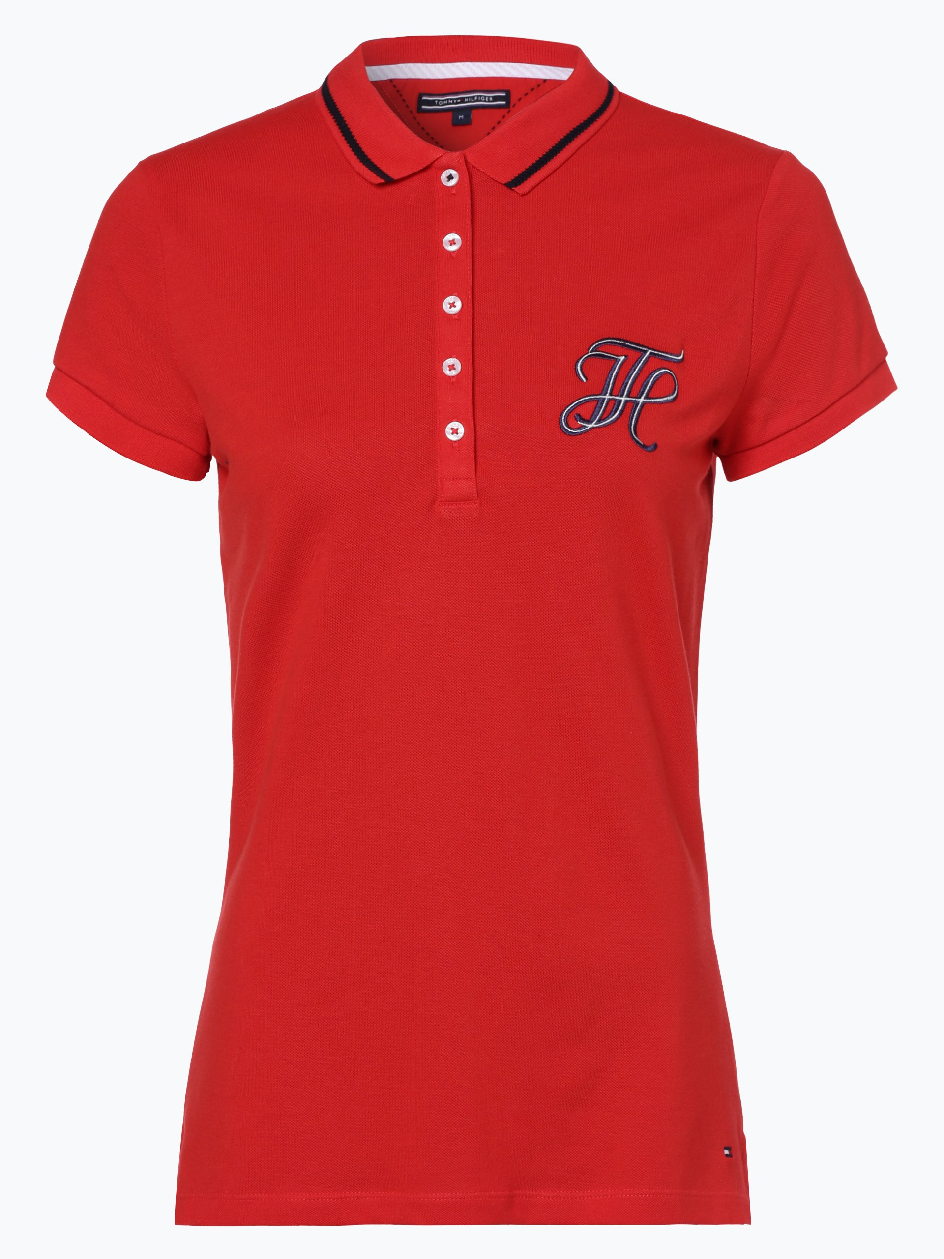 tommy hilfiger damen poloshirt rot uni online kaufen peek und cloppenburg de. Black Bedroom Furniture Sets. Home Design Ideas
