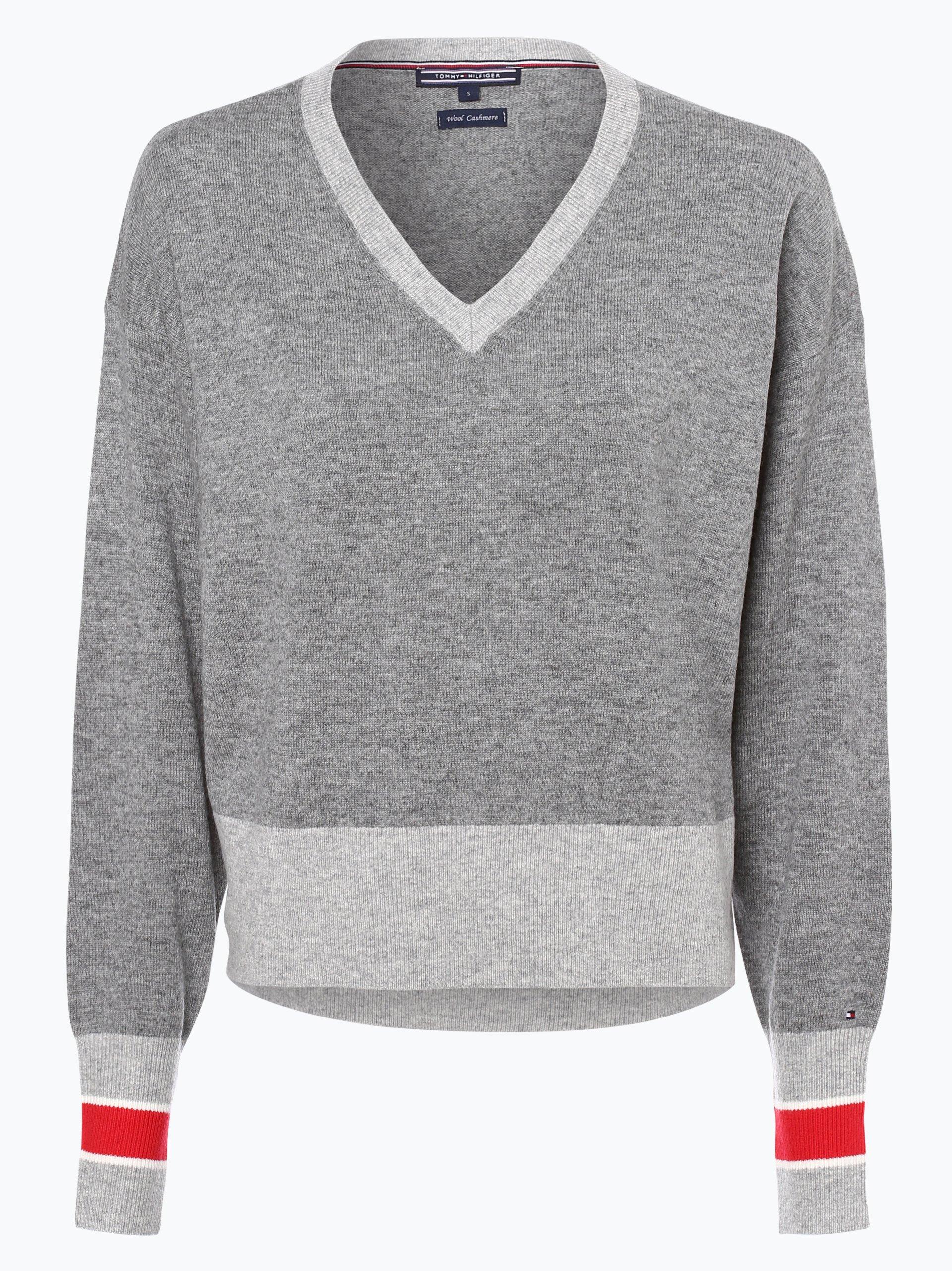 tommy hilfiger damen pullover mit cashmere anteil grau uni. Black Bedroom Furniture Sets. Home Design Ideas