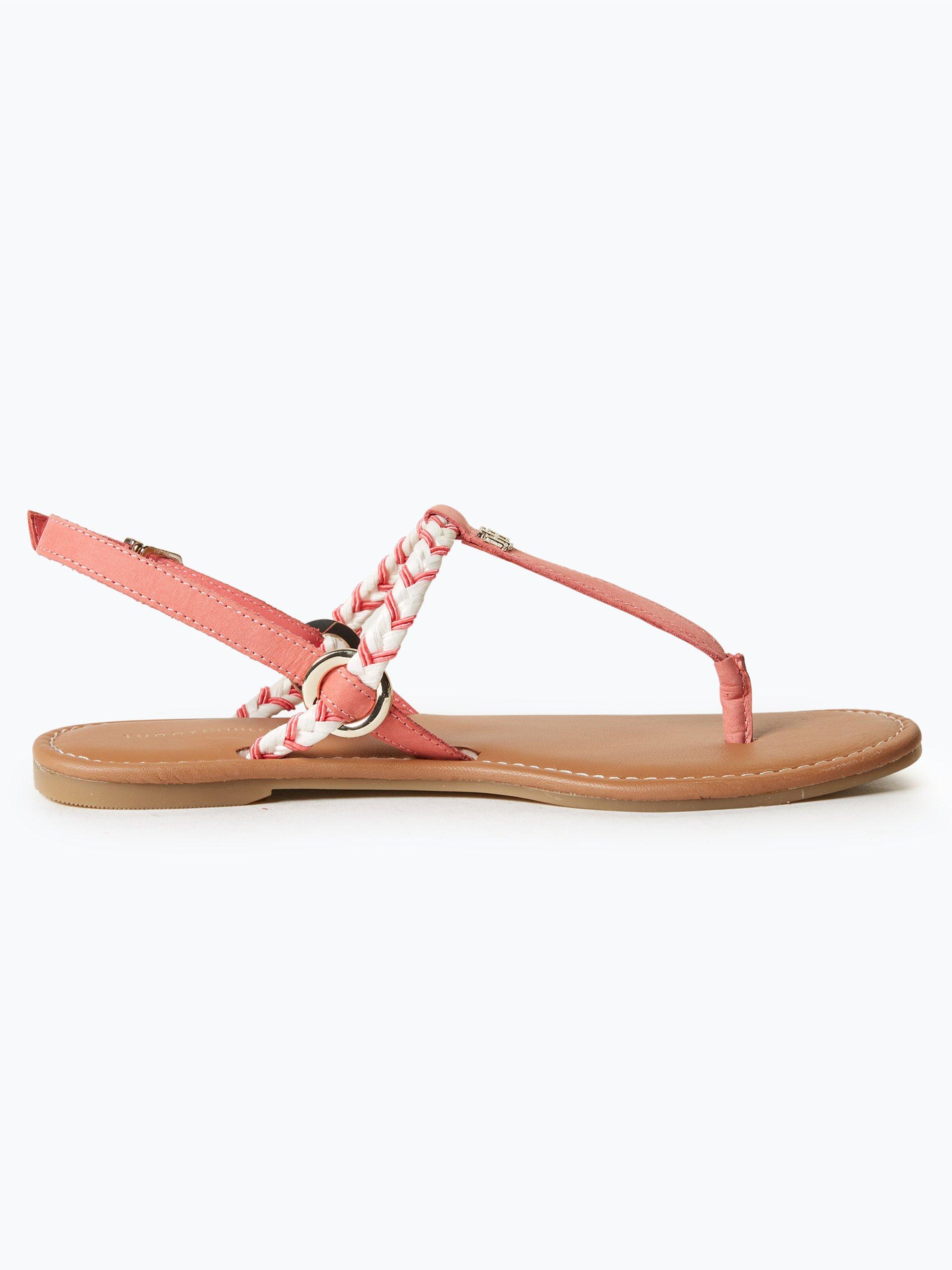 tommy hilfiger damen sandalen aus leder koralle uni online. Black Bedroom Furniture Sets. Home Design Ideas