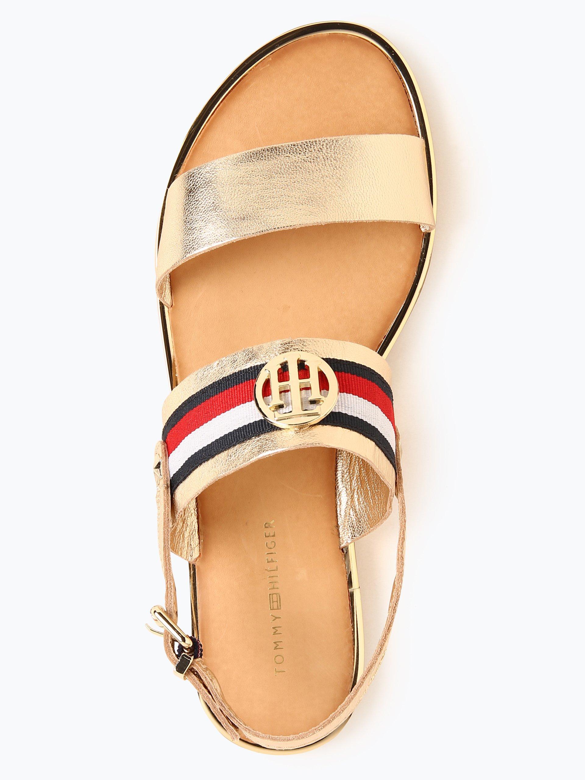tommy hilfiger damen sandalen aus leder gold uni online kaufen vangraaf com. Black Bedroom Furniture Sets. Home Design Ideas